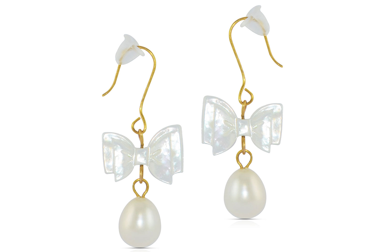 Vera Perla 10K Gold  Pearl and Bow MOP Delicate Earrings