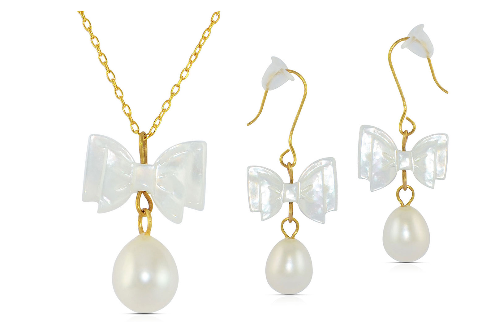 Vera Perla 10K Gold  Pearl and Bow MOP Delicate Jewelry Set