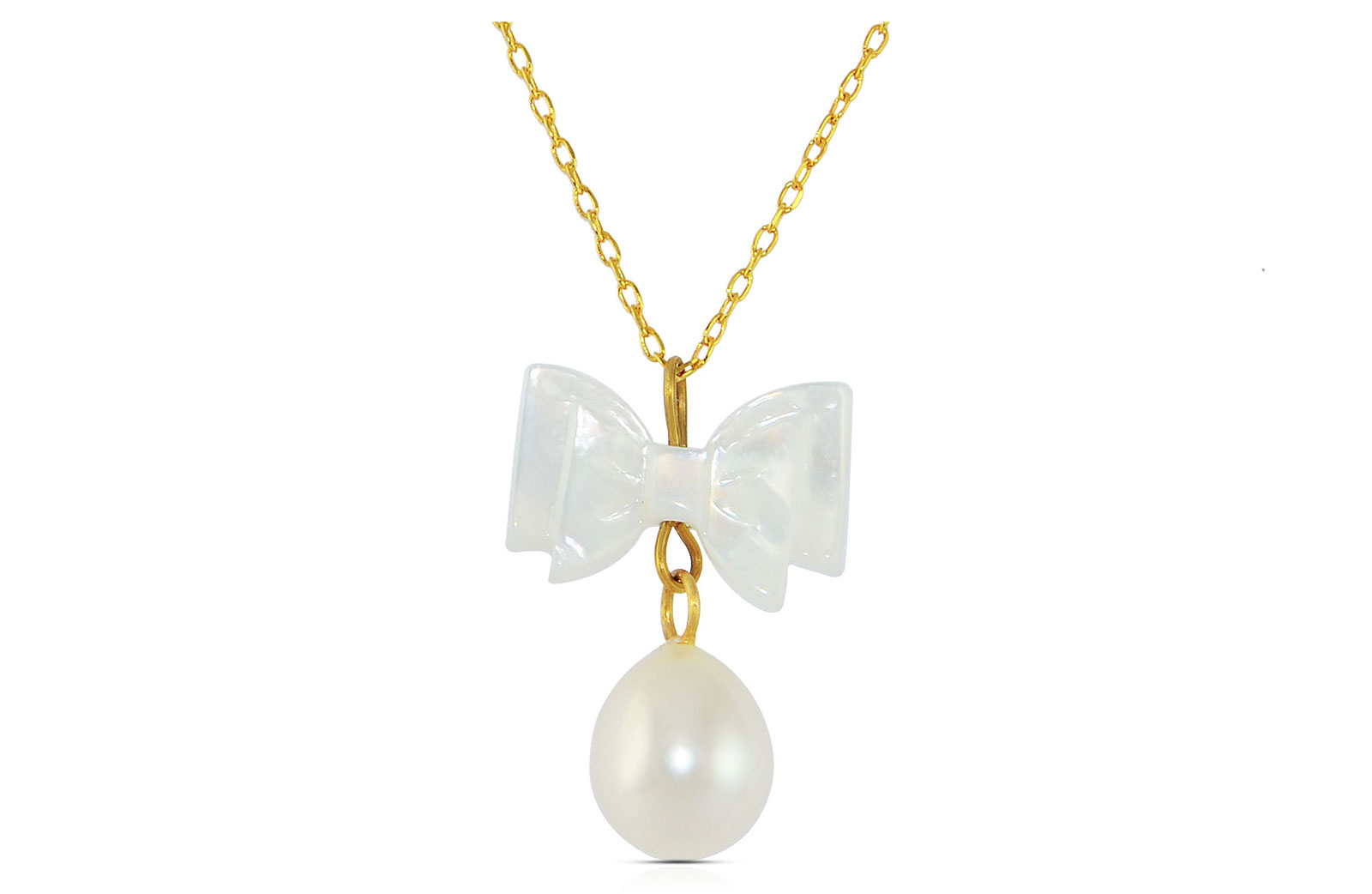 Vera Perla 10K Gold  Pearl and Bow MOP Delicate Necklace