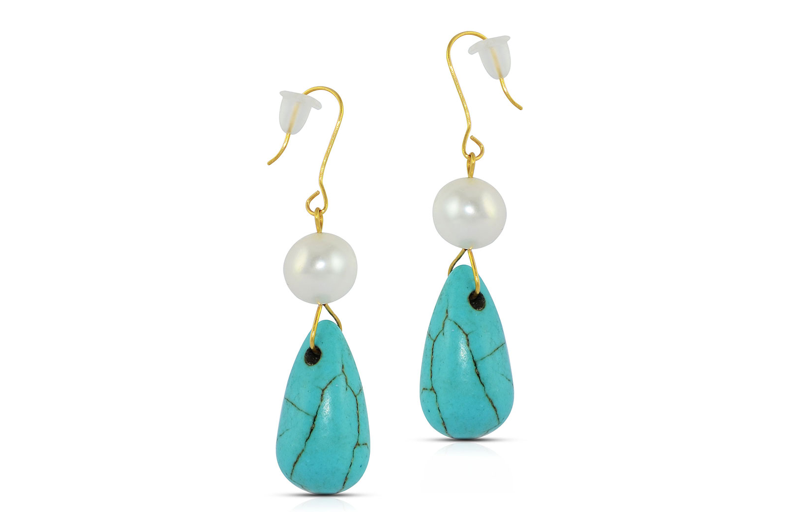 Vera Perla 10K Gold  Pearl and Turqoise Delicate Earrings