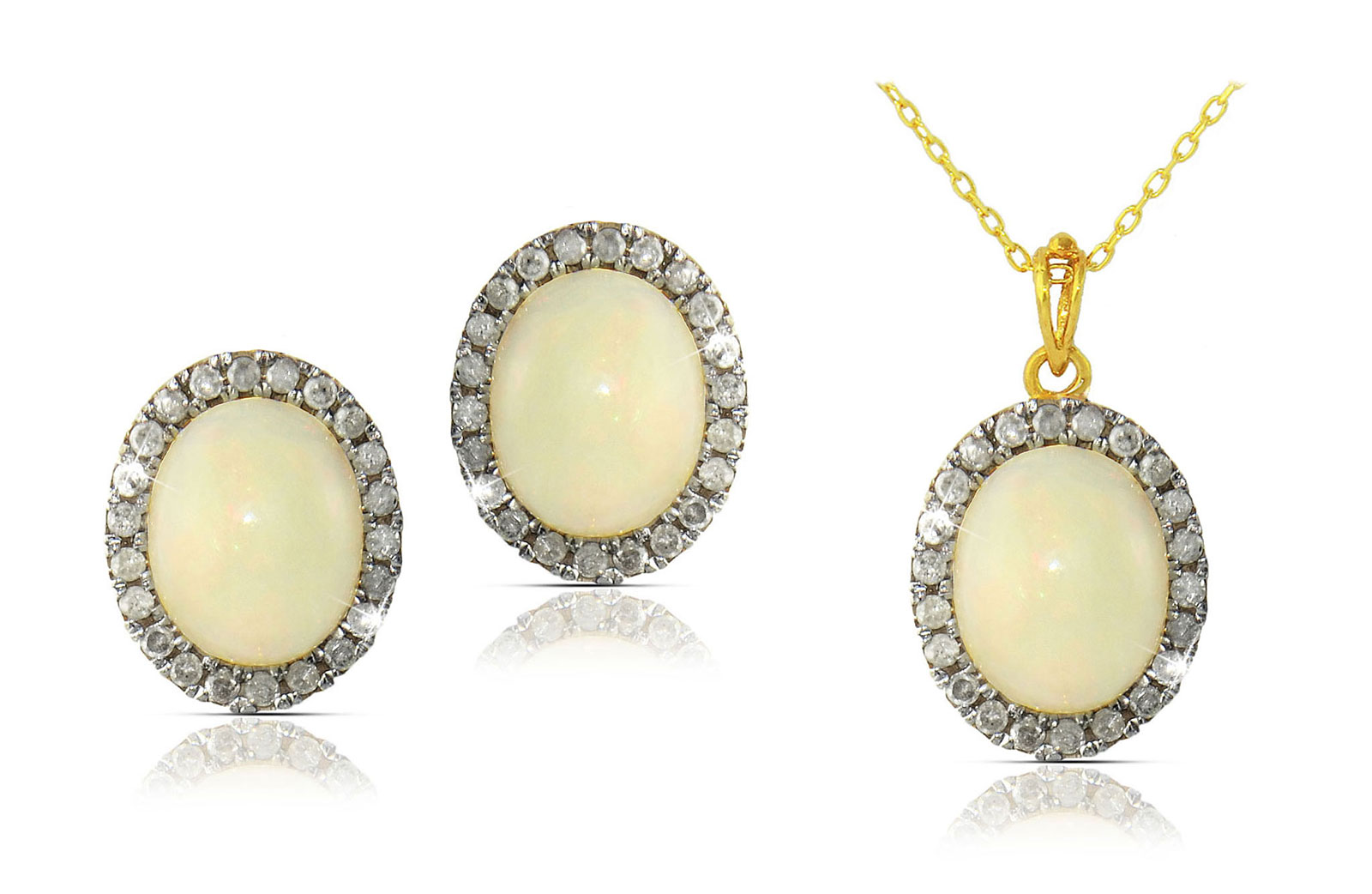 Vera Perla 10k Gold, 0.66Cts Diamonds, Oval Opal Necklace and Earrings Set
