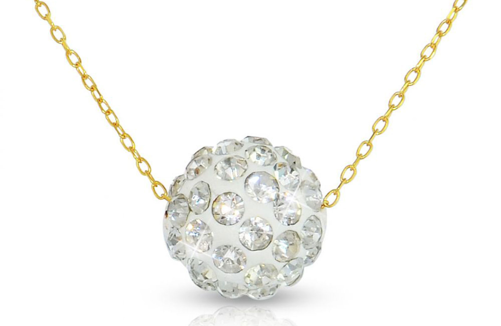Vera Perla 10K Gold 10mm Simple Crystals Ball Necklace