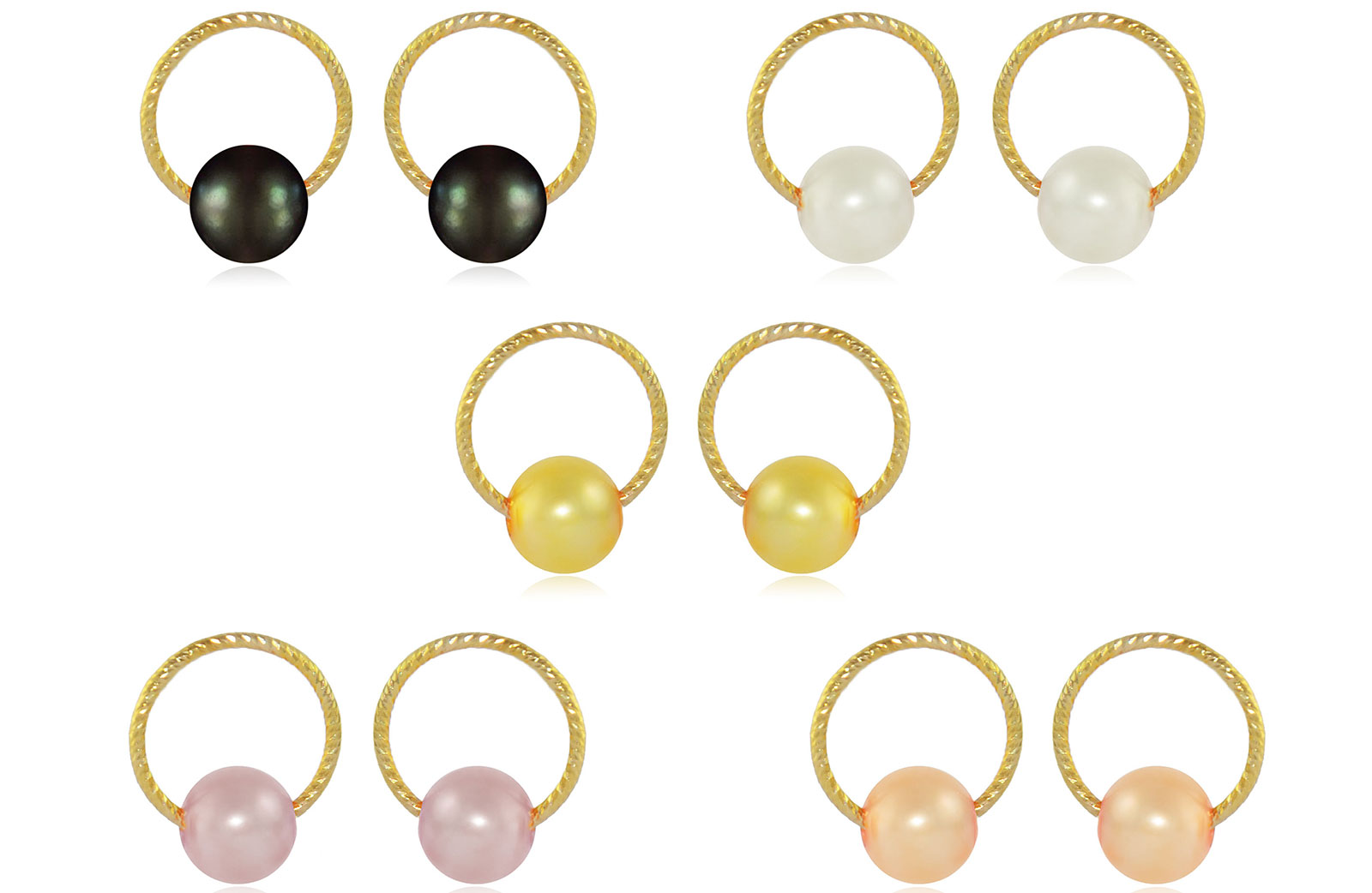 Vera Perla 10k Gold, 5-in-1 Interchangeable 7mm Round Pearls Earrings