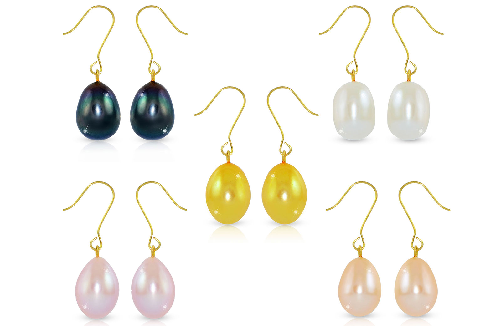 Vera Perla 10K Gold 5 Pairs Multicolor 9-10mm  Big Pearls Earrings