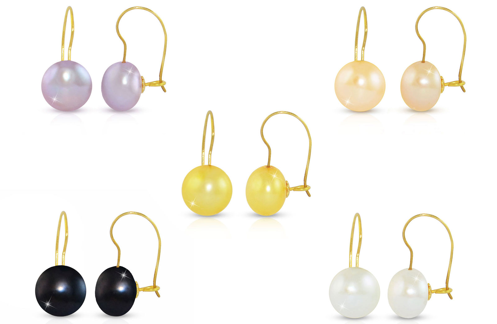 Vera Perla 10K Gold 7mm Genuine Button Pearls 5 Pairs Earrings