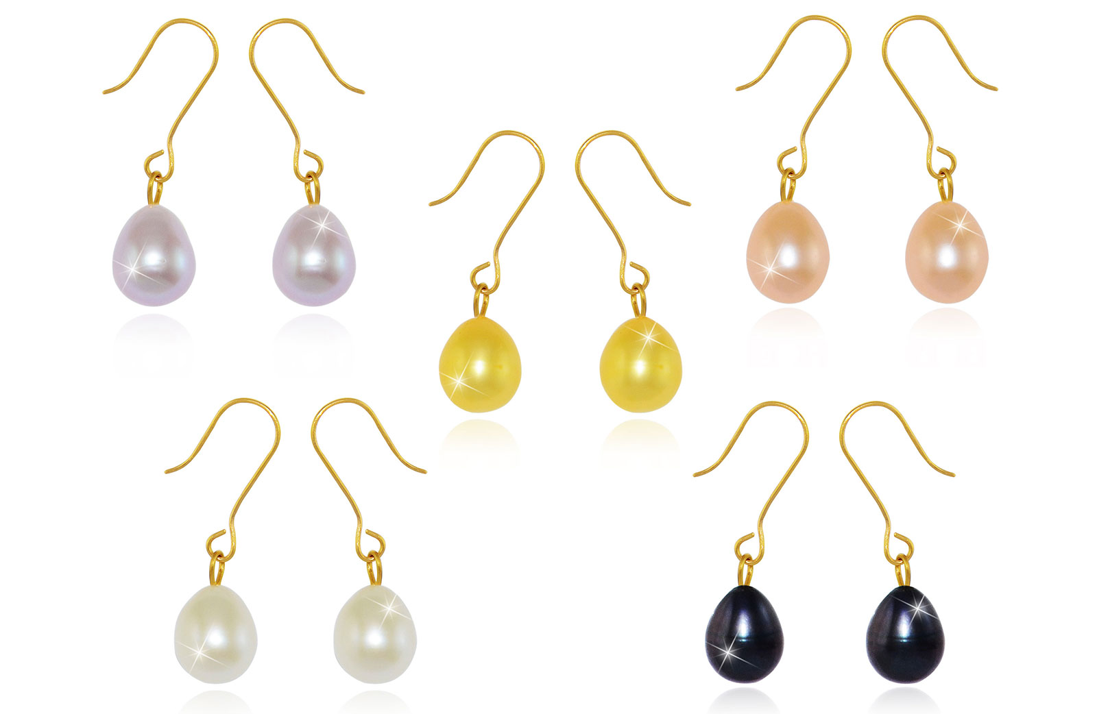 Vera Perla 10K Gold 7mm Pearls 5 Pairs Earrings