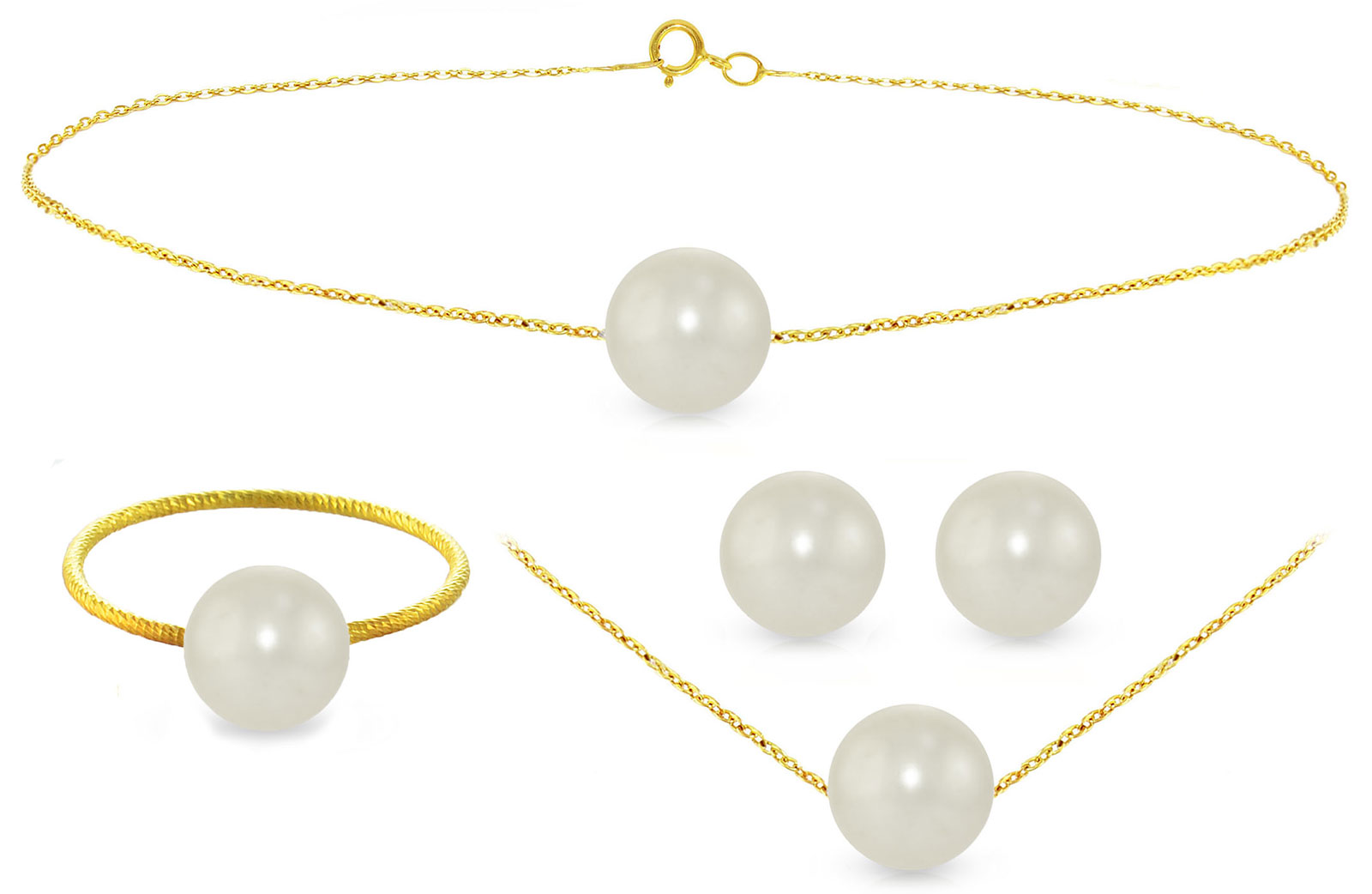 Vera Perla 10k Gold, 7mm White Pearls Necklace, Bracelet, Ring & Earrings