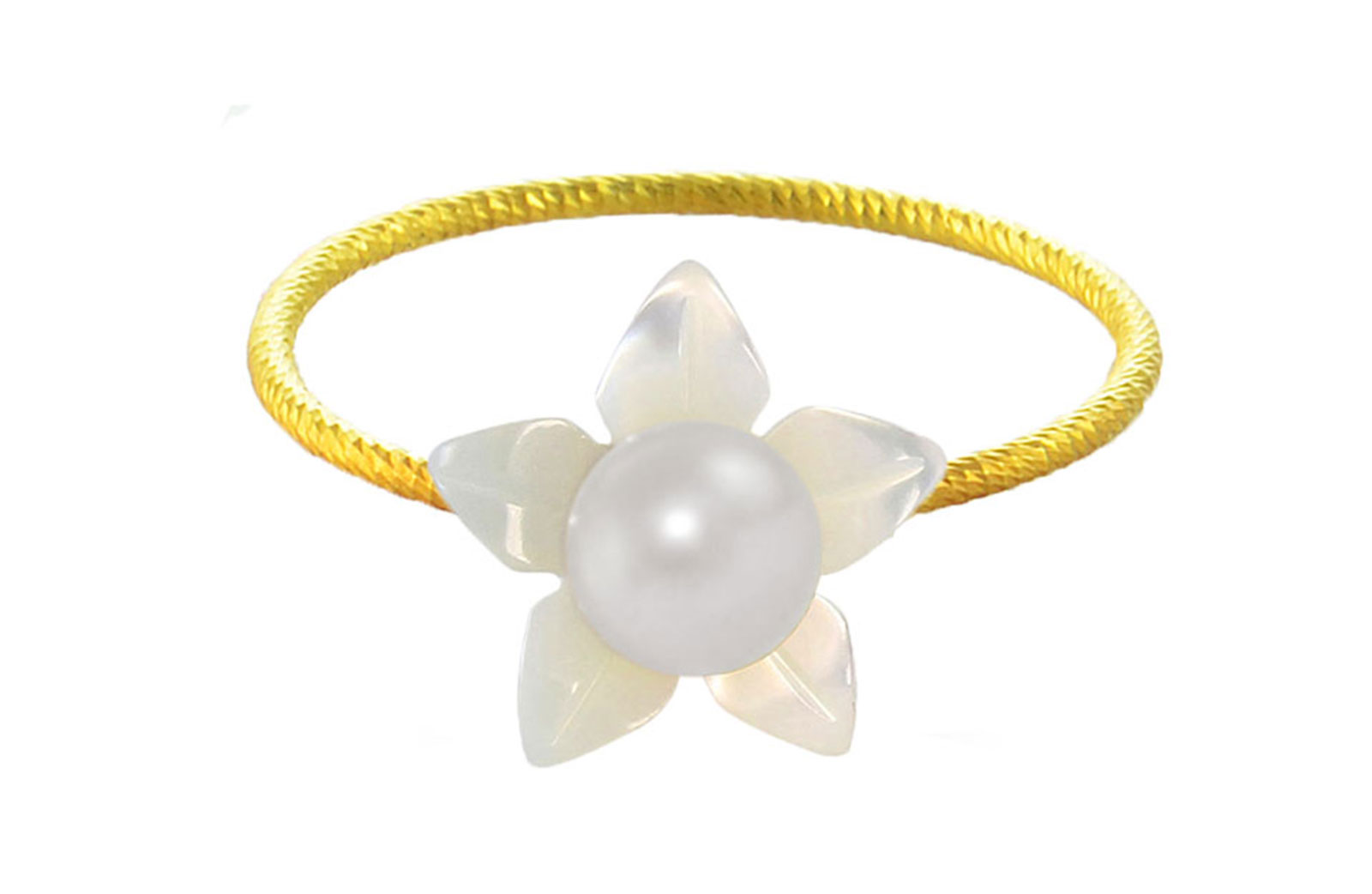Vera Perla 10k Gold, Delicate 4mm White Pearl Flower Shell Ring