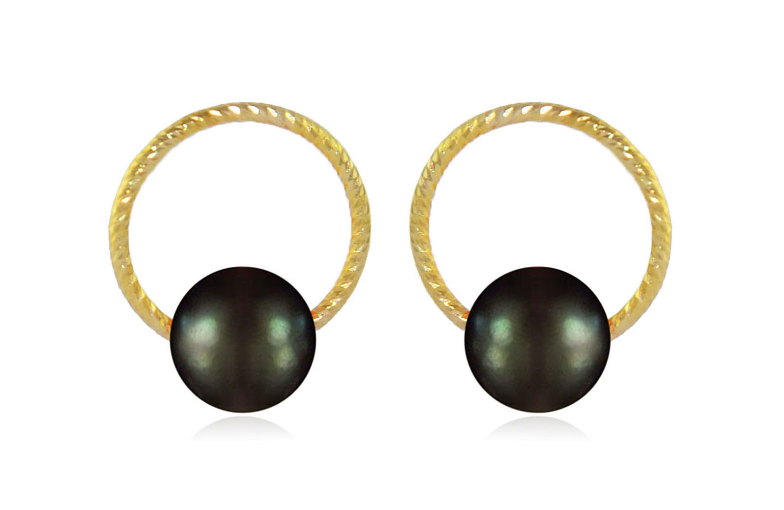 Vera Perla 10k Gold, Delicate 7mm Black Round Pearl Hoop Earrings