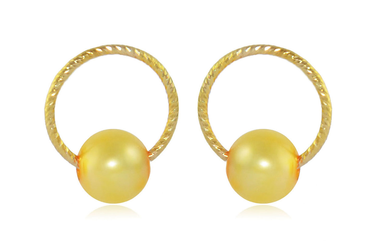 Vera Perla 10k Gold, Delicate 7mm Golden Round Pearl Hoop Earrings
