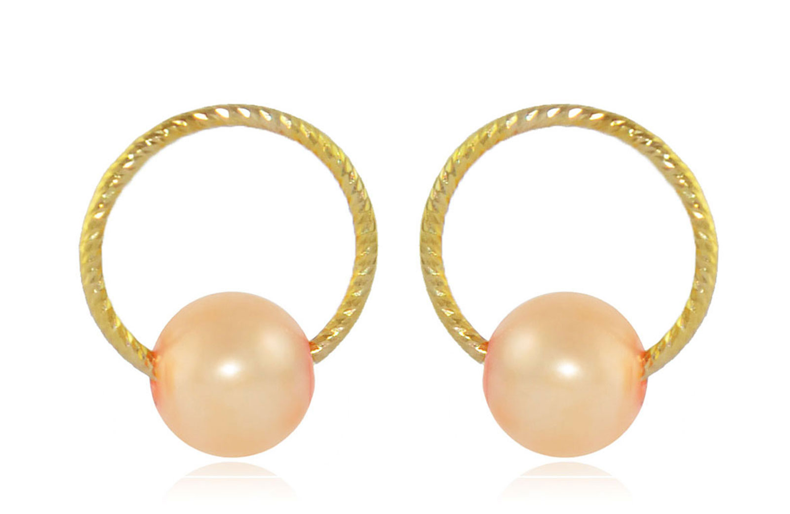 Vera Perla 10k Gold, Delicate 7mm Pink Round Pearl Hoop Earrings