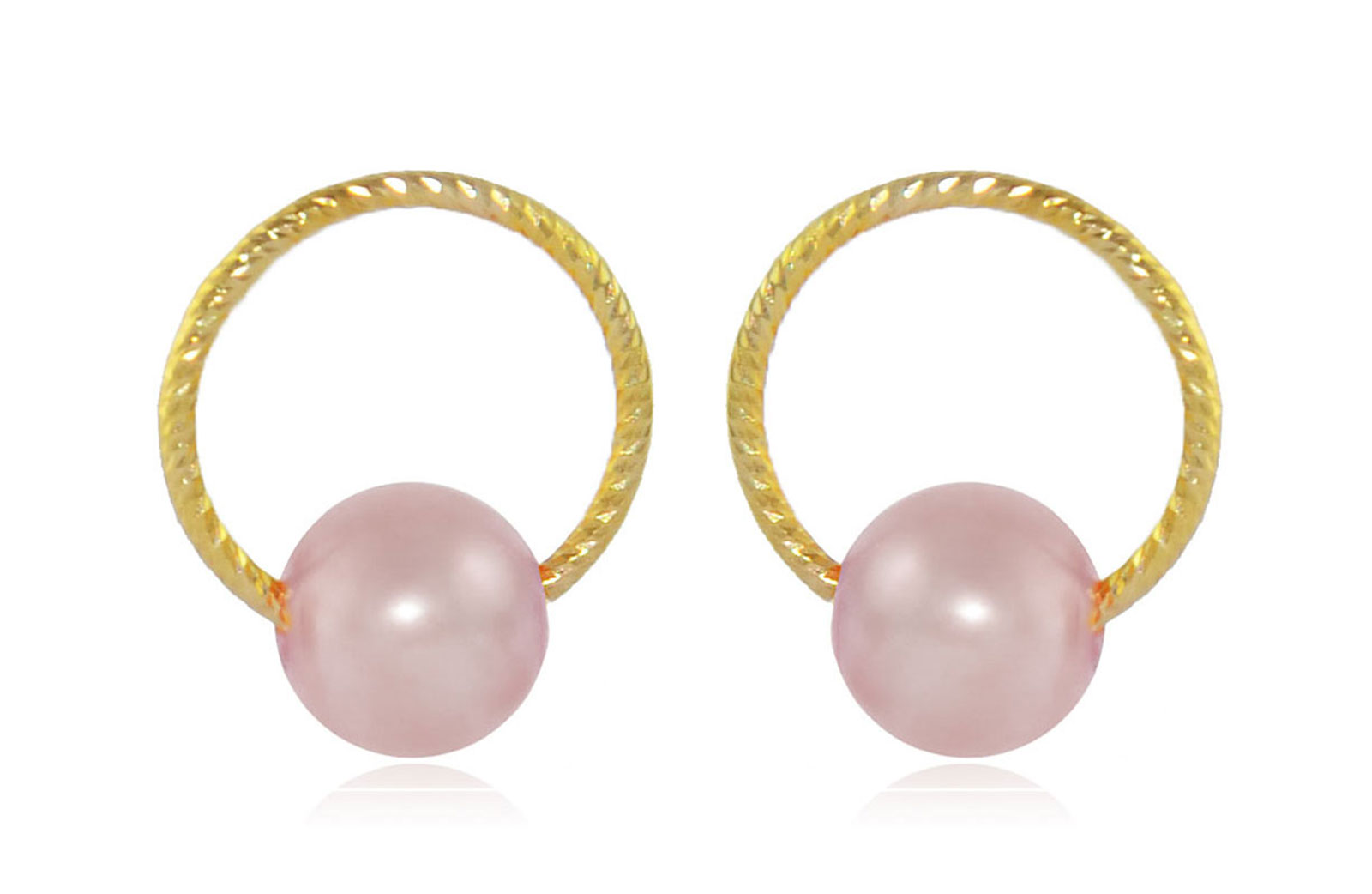 Vera Perla 10k Gold, Delicate 7mm Purple Round Pearl Hoop Earrings