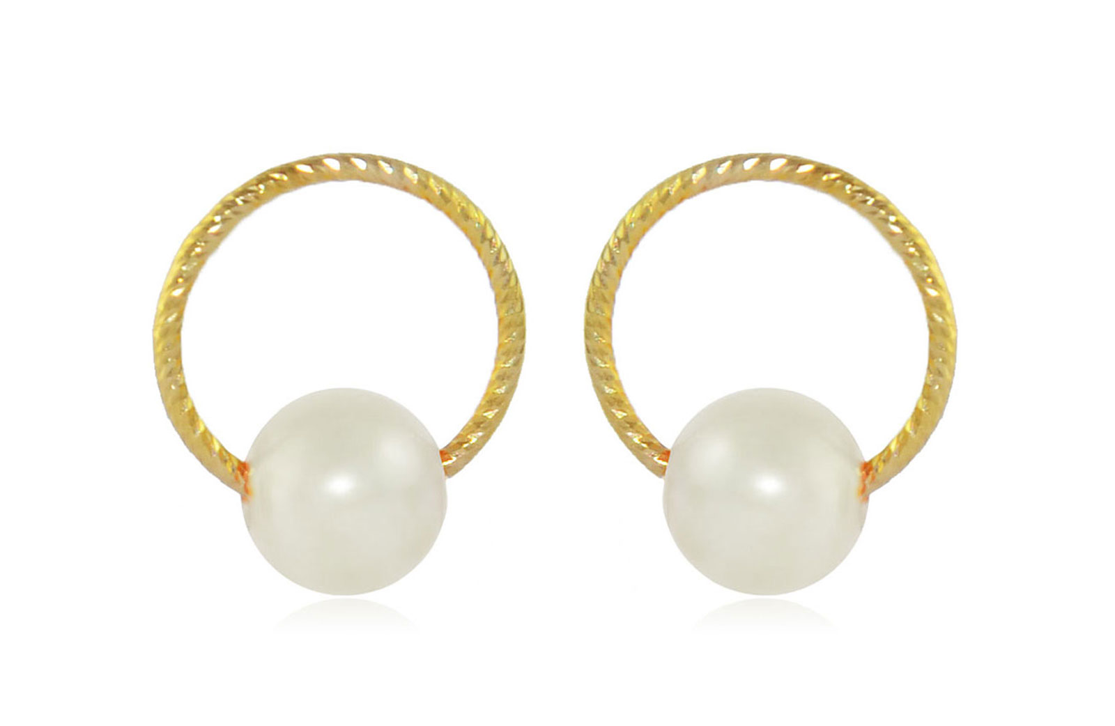 Vera Perla 10k Gold, Delicate 7mm White Round Pearl Hoop Earrings