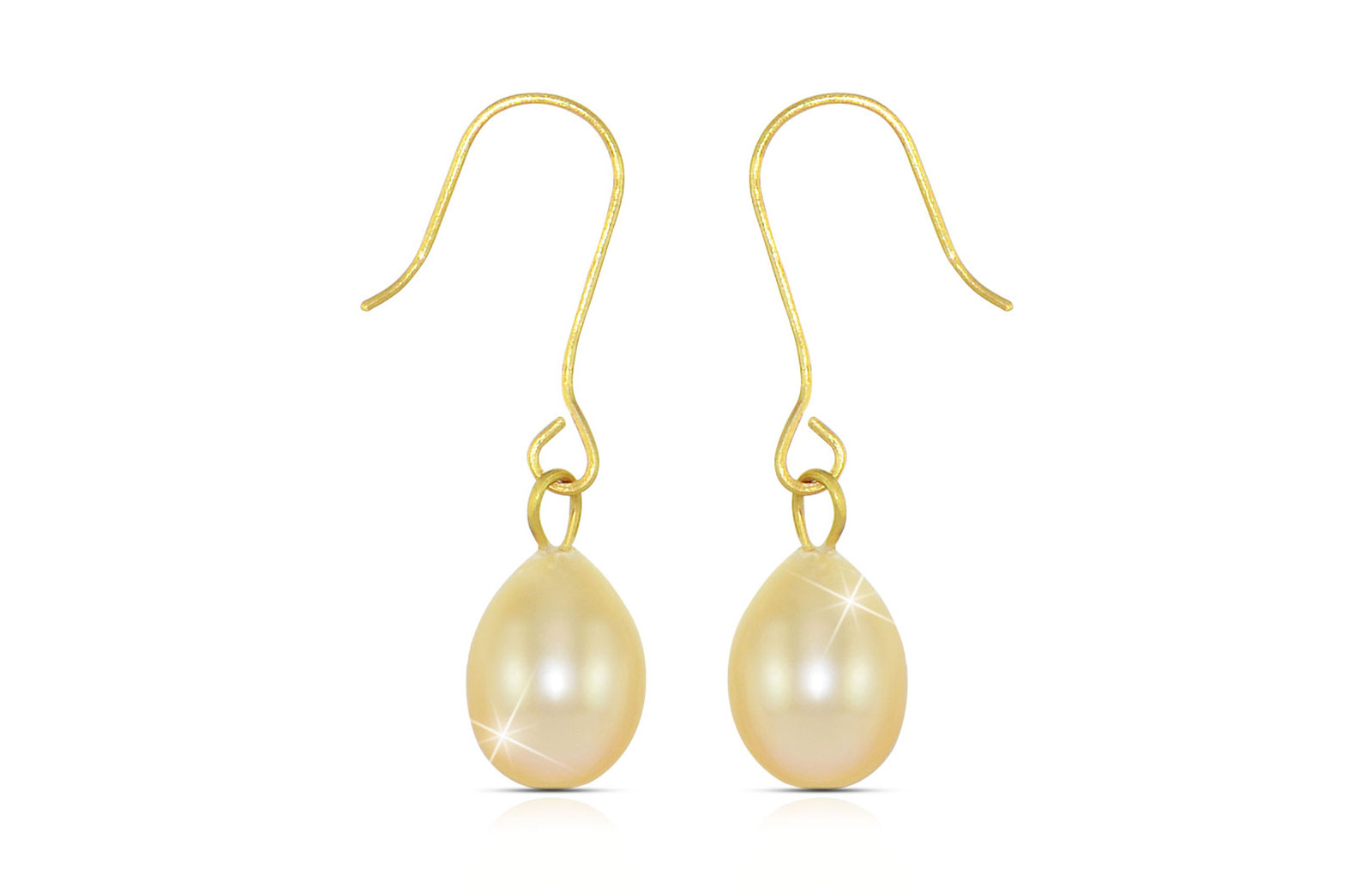 Vera Perla 10K Gold Genuine 7mm Peach Pearl Delicate Earrings