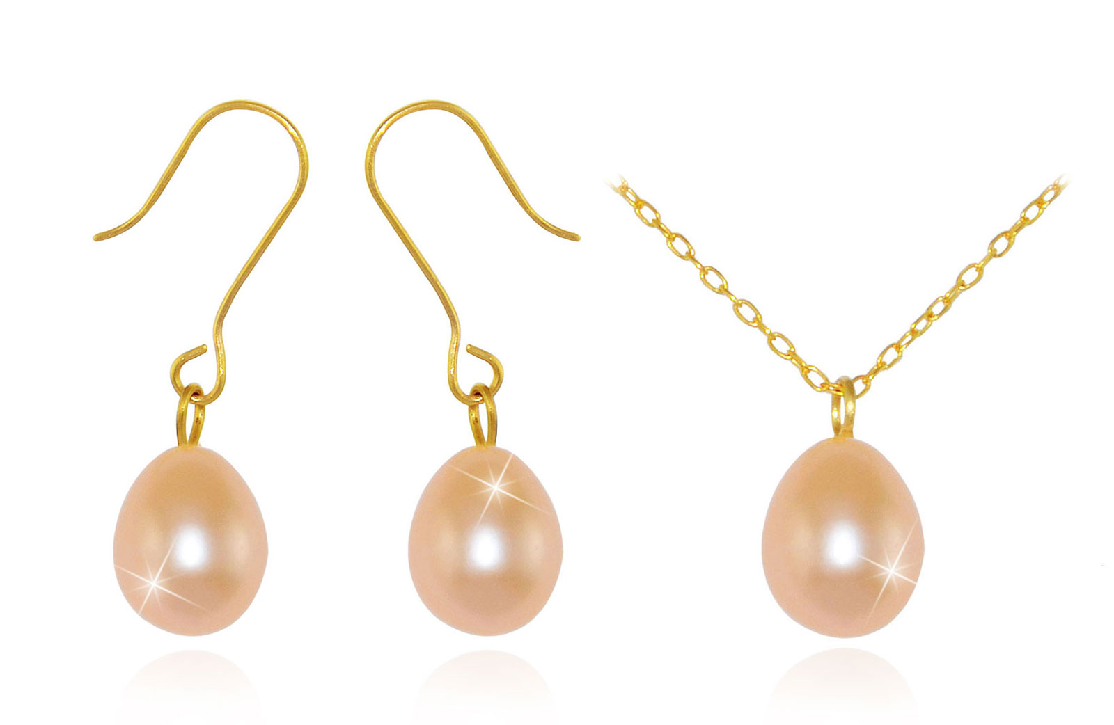 Vera Perla 10K Gold Genuine 7mm Pink  Drop Pearls Delicate Set