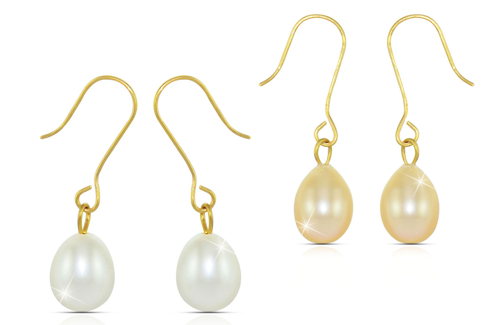Vera Perla 10K Gold Genuine 7mm White and Peach Pearl Delicate 2 Pairs Earrings