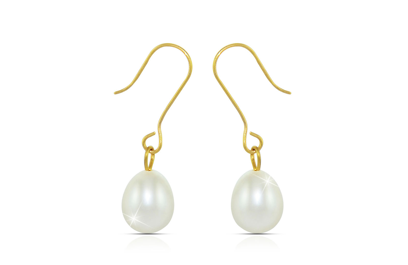 Vera Perla 10K Gold Genuine 7mm White Pearl Delicate Earrings