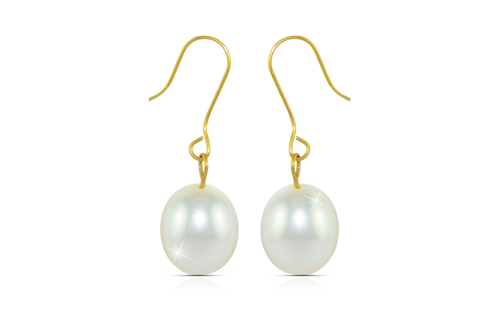 Vera Perla 10K Gold Genuine Baroque 9mm Pearl Delicate Earrings