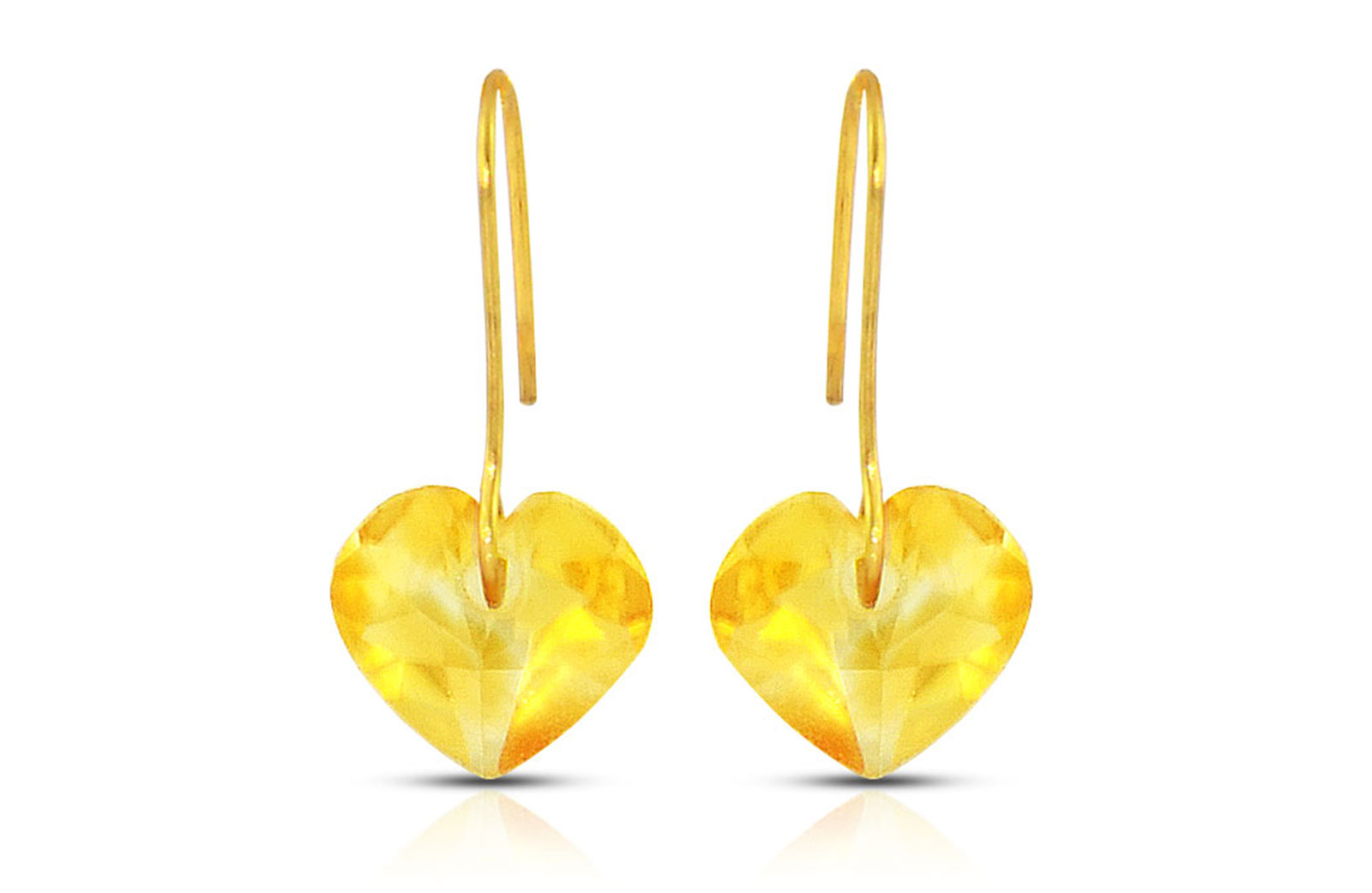 Vera Perla 10K Gold Genuine Citrine 7mm Heart Earrings