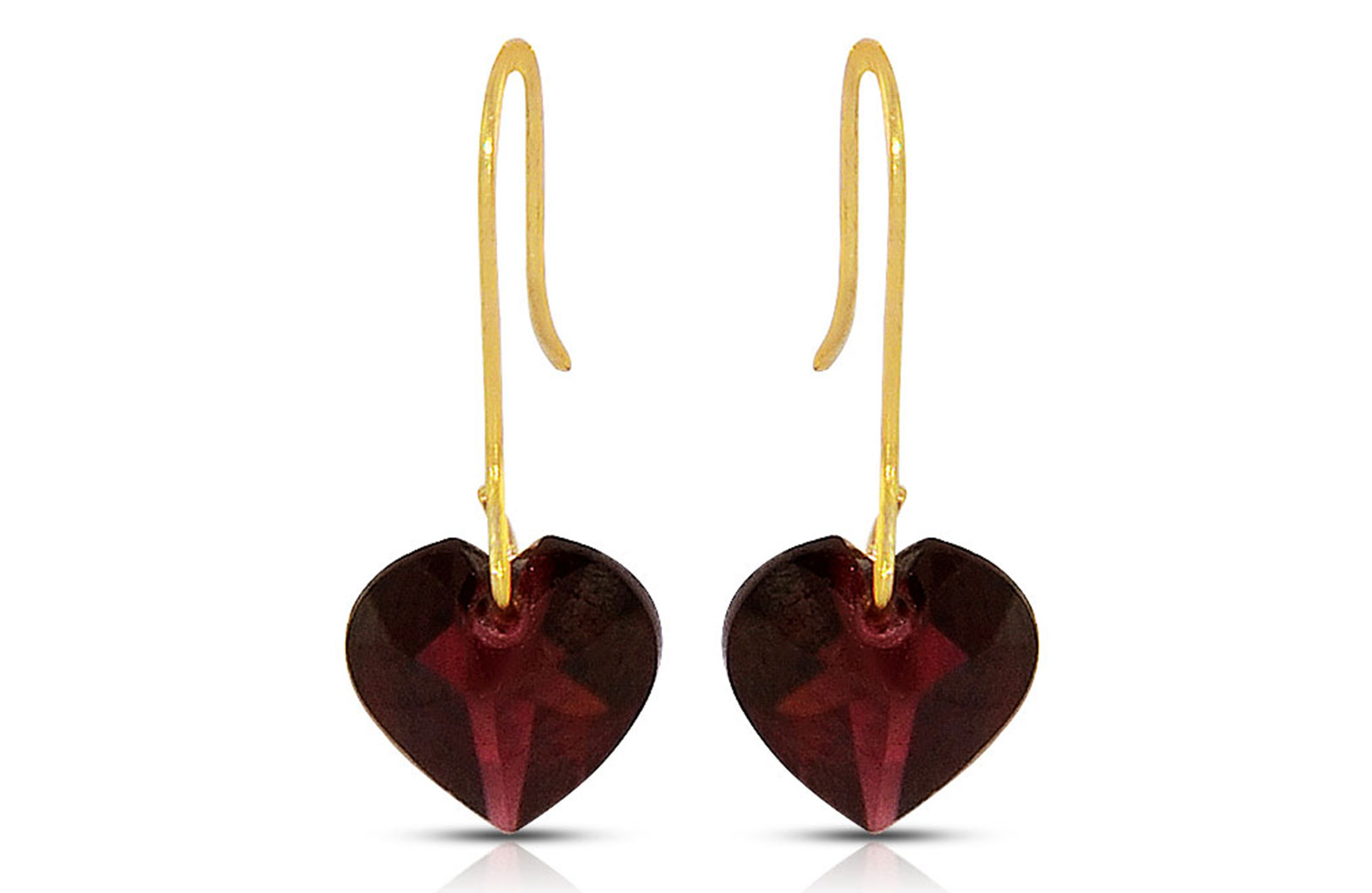 Vera Perla 10K Gold Genuine Garnets 7mm Heart Earrings