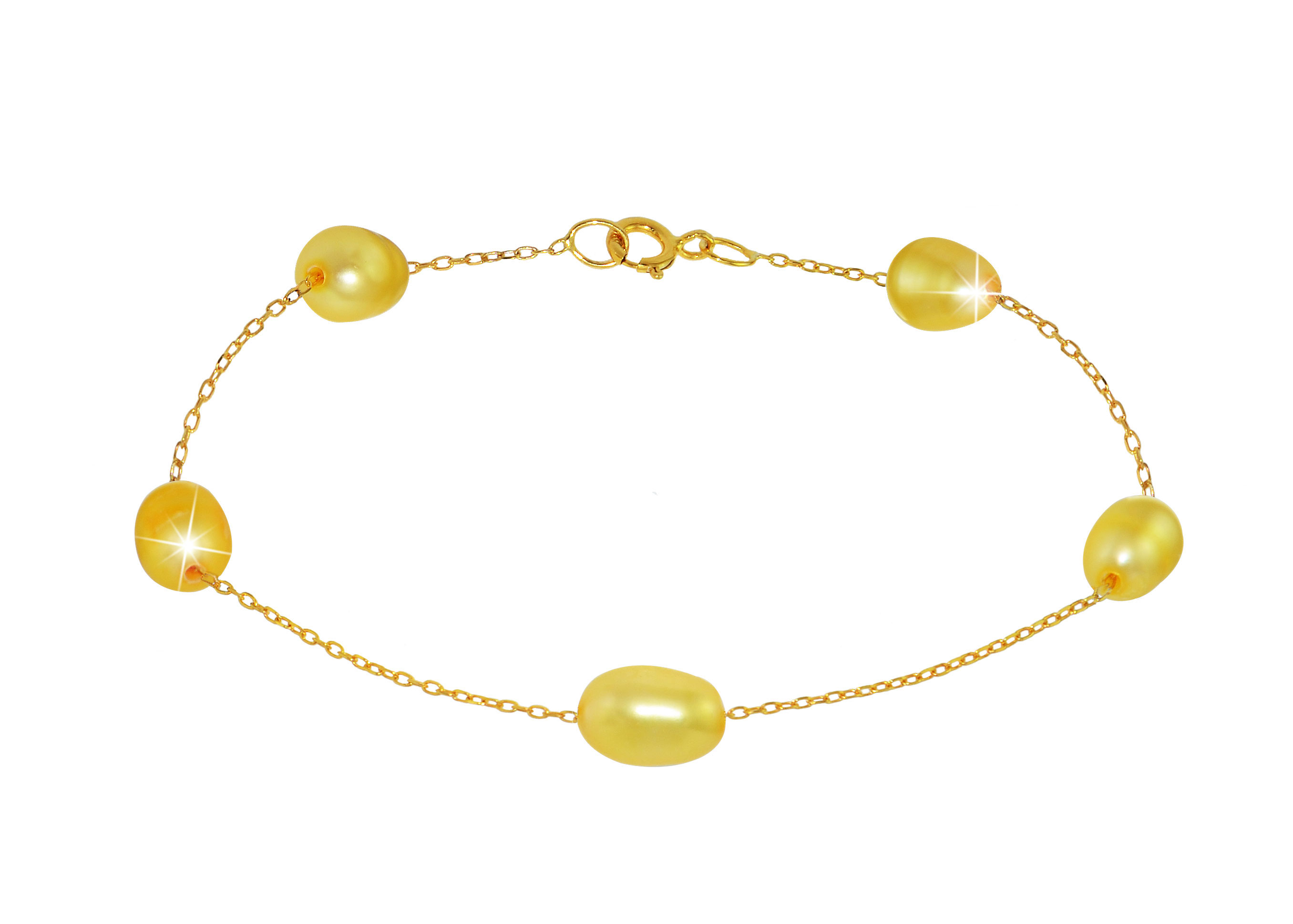 Vera Perla 10K Gold Genuine Golden Pearls Bracelet