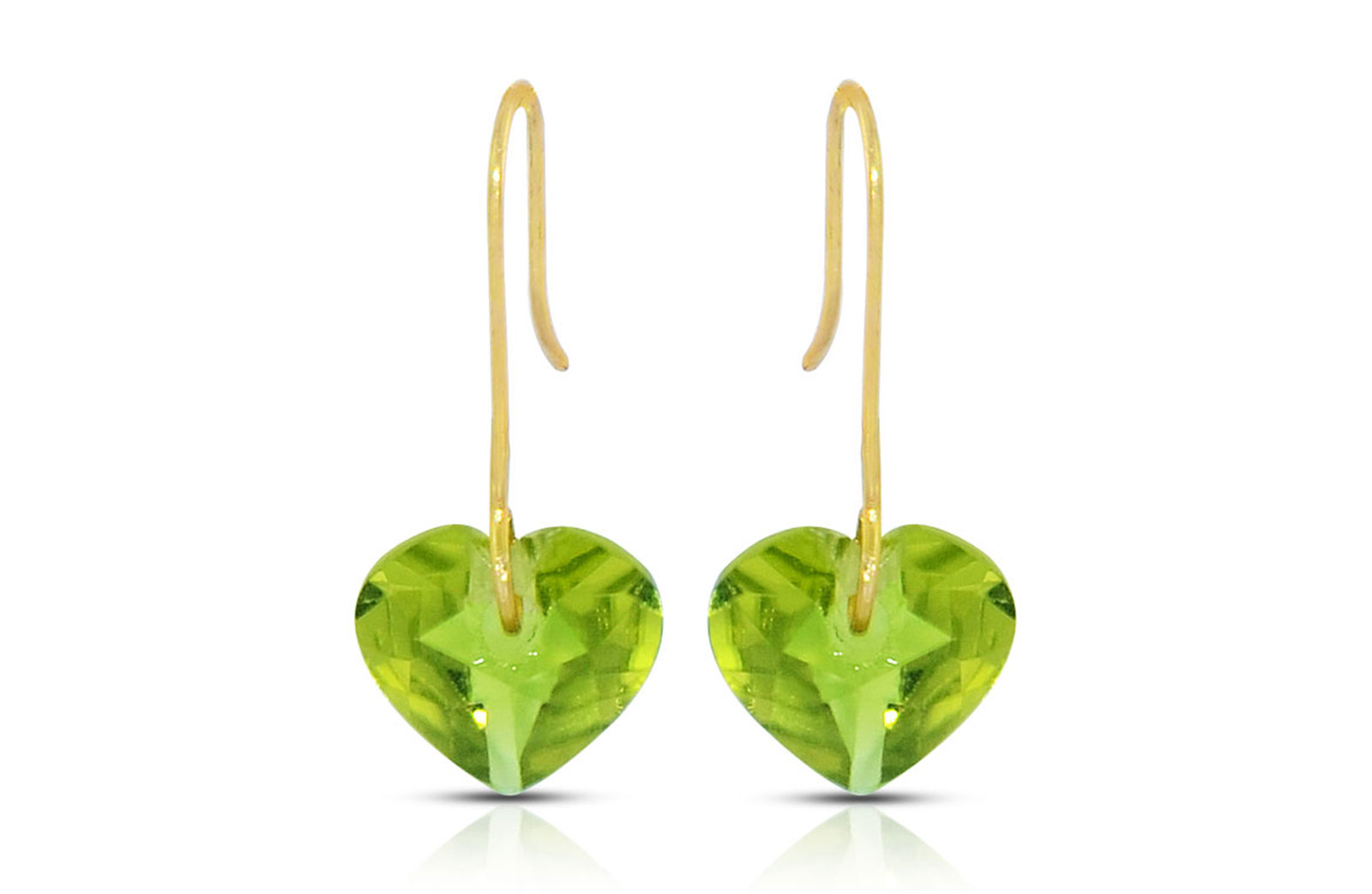 Vera Perla 10K Gold Genuine Peridot 7mm Heart Earrings