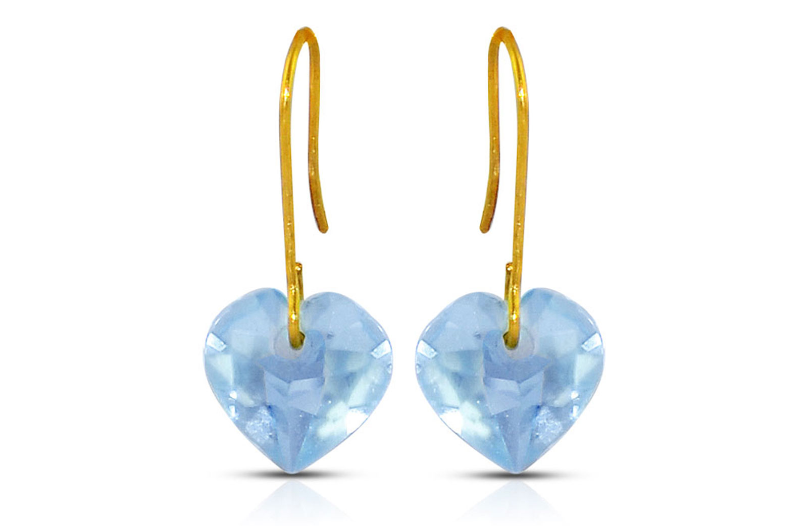 Vera Perla 10K Gold Genuine Sky Blue Topaz 7mm Heart Earrings