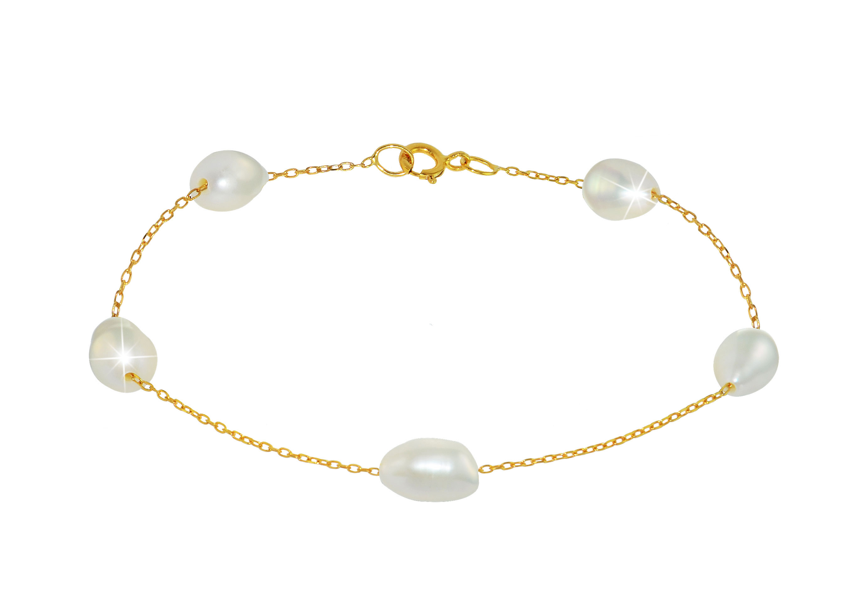 Vera Perla 10K Gold Genuine White Pearls Bracelet