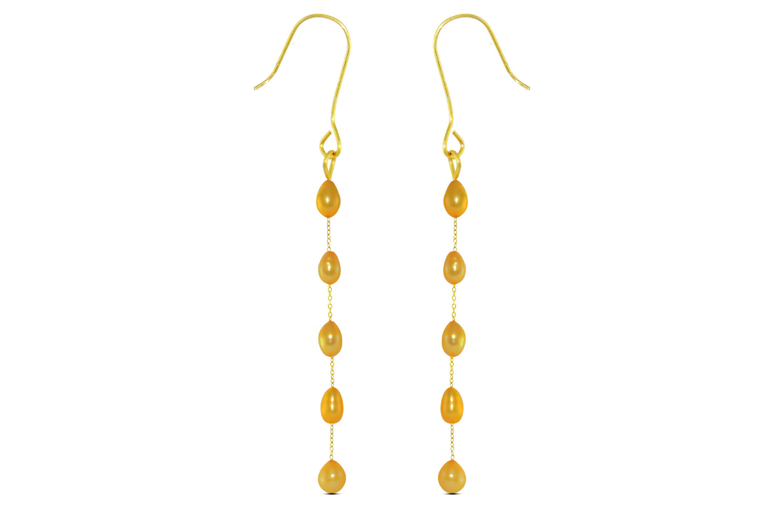 Vera Perla 10K Gold Golden Pearls Opera Drop Earrings