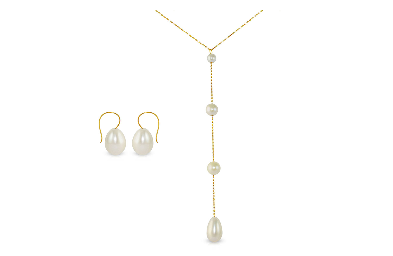 Vera Perla 10K Gold Gradual Built-in with Drop Pearl Necklace & Earrings