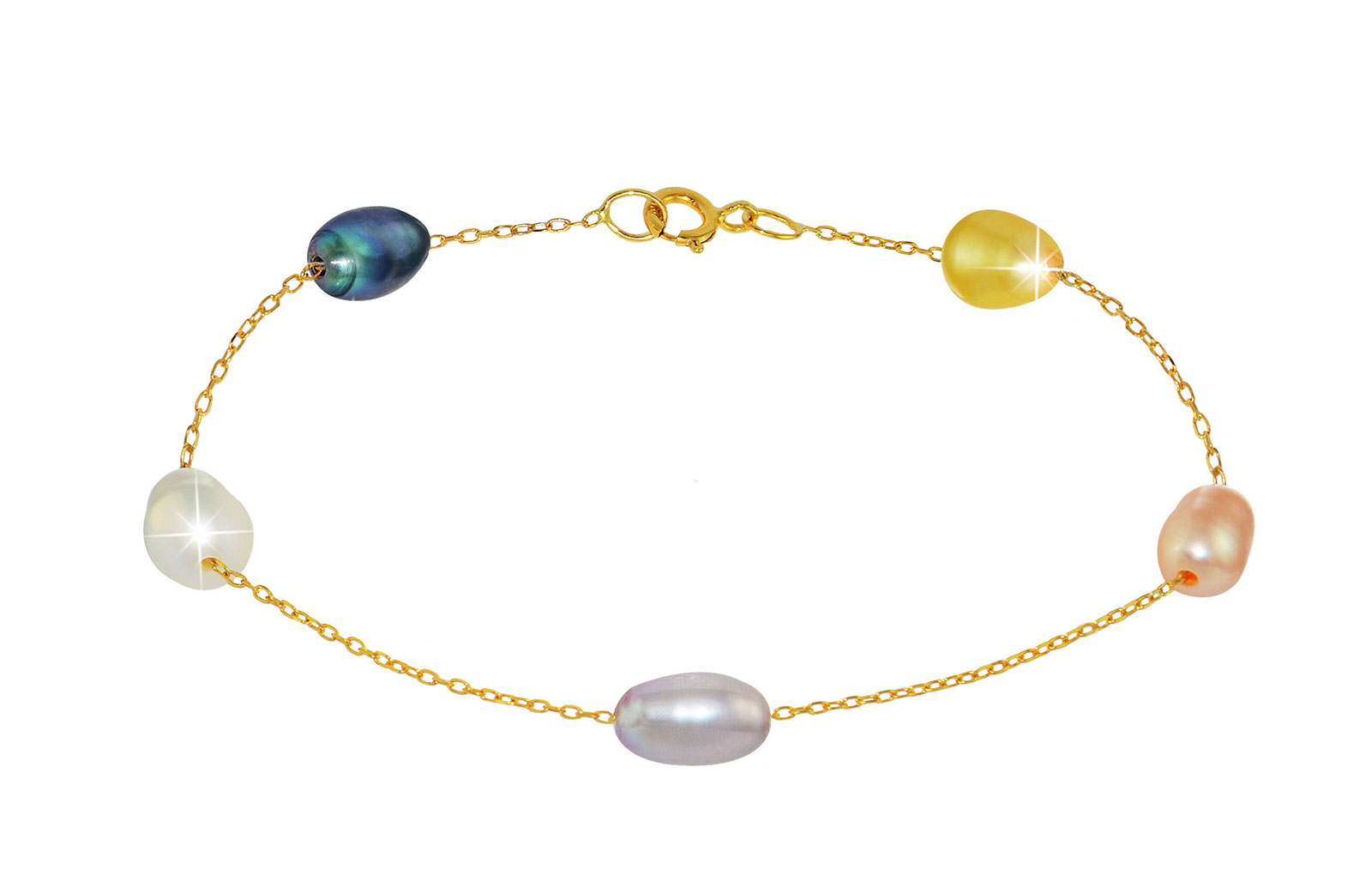 Vera Perla 10K Gold Multicolored Pearls Bracelet