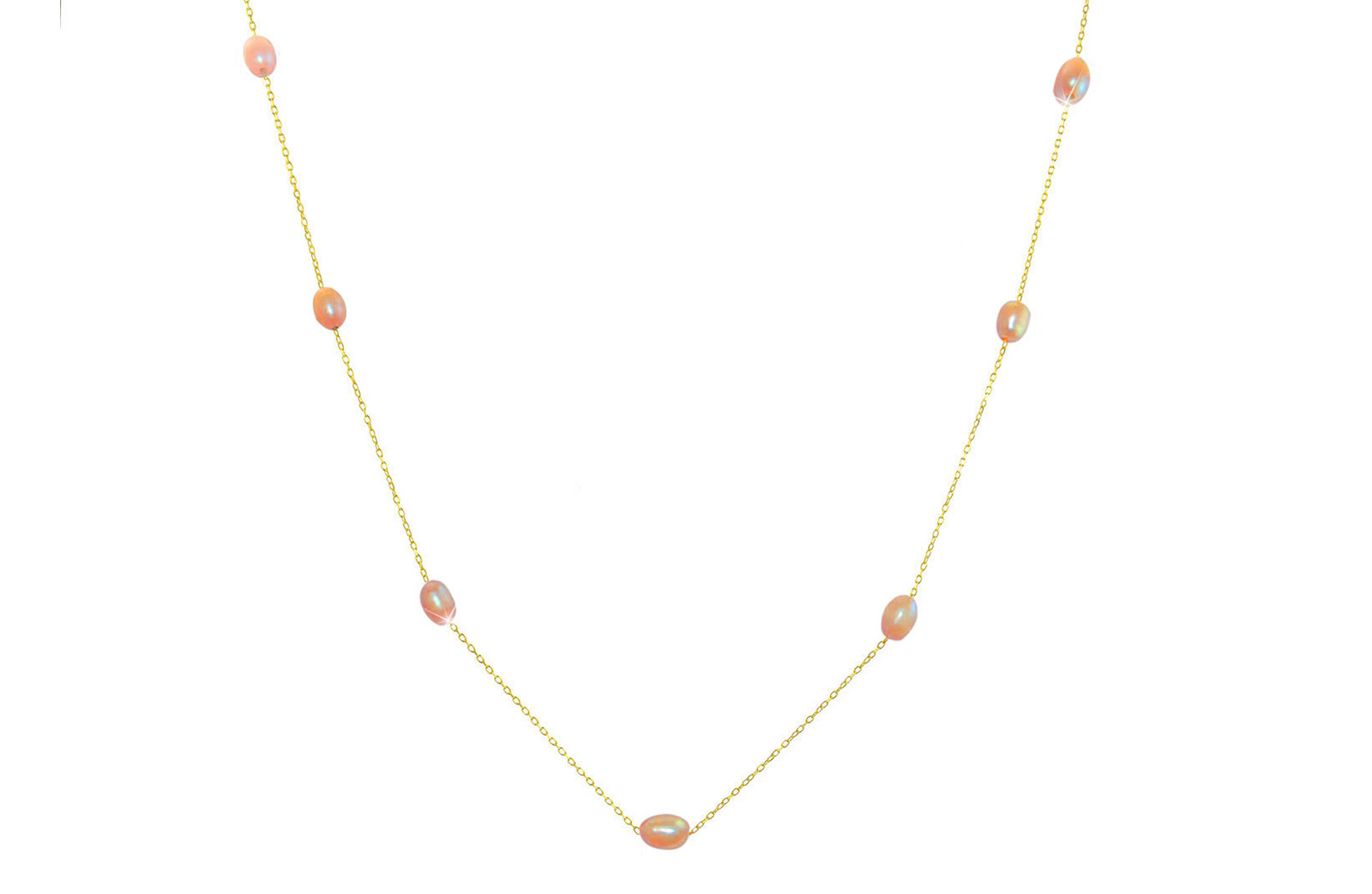 Vera Perla 10K Gold Pink  Pearls Opera Necklace