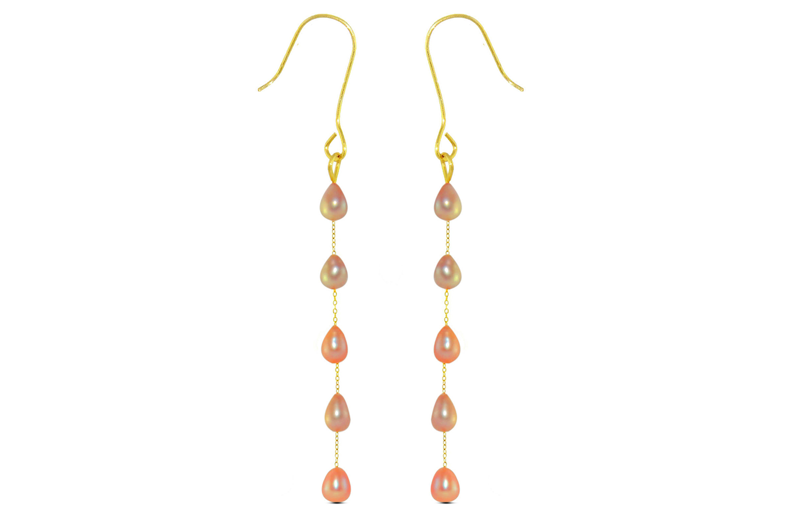 Vera Perla 10K Gold Pink Pearls Opera Drop Earrings