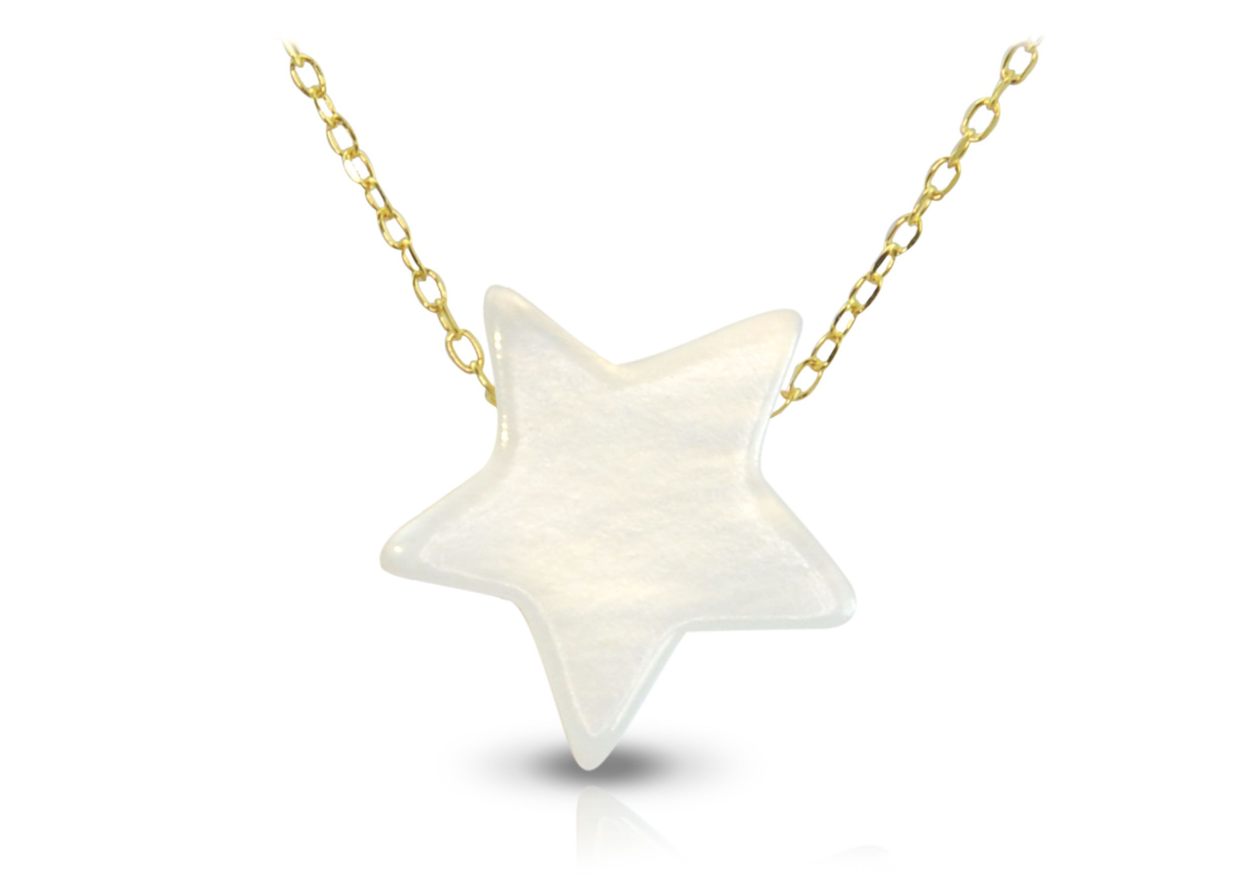 Vera Perla 10k Gold Star Shape Mother of Pearl Necklace