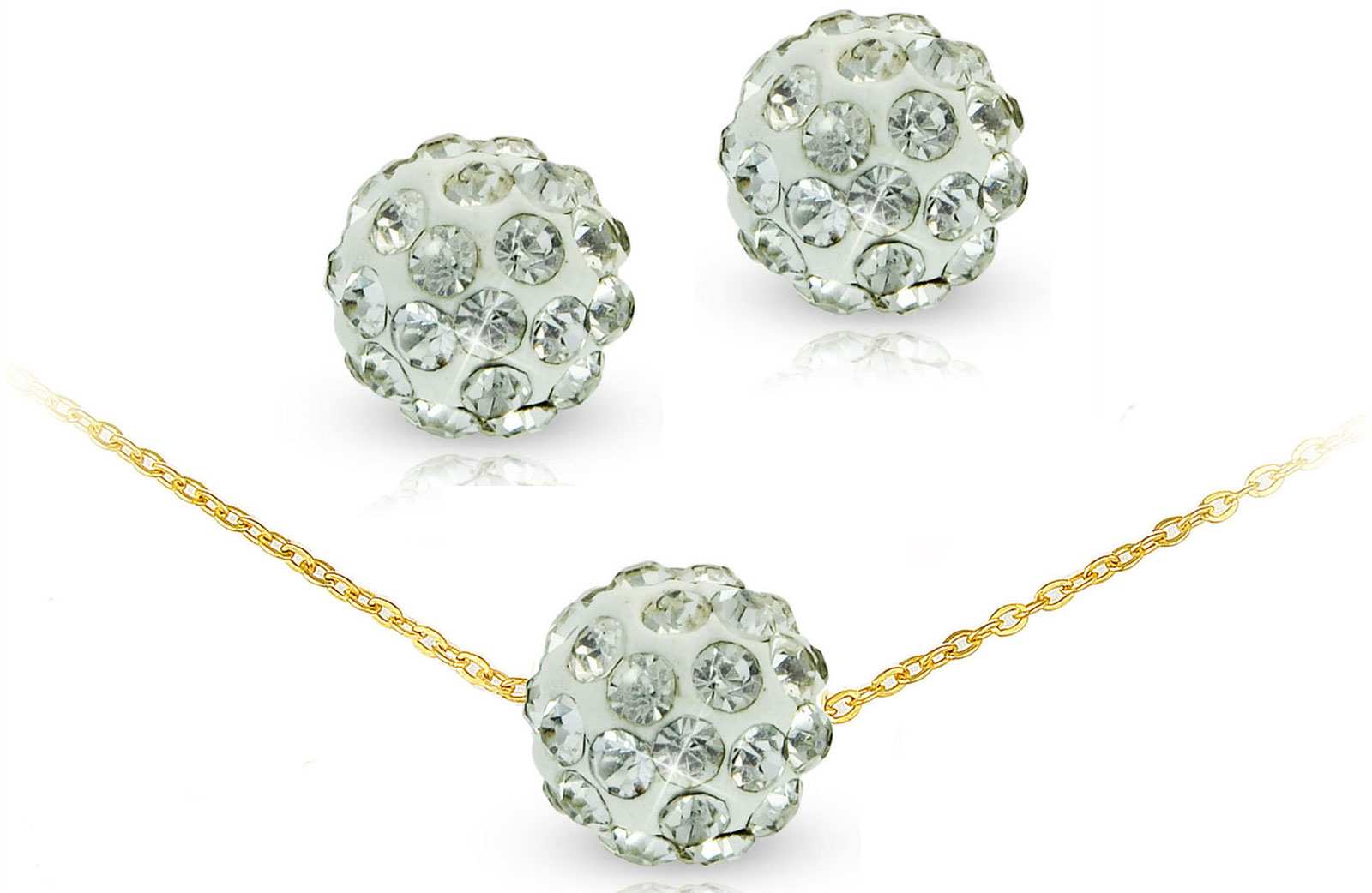 Vera Perla 10k Solid Gold 10mm Simple Crystal Ball Necklace & Earrings
