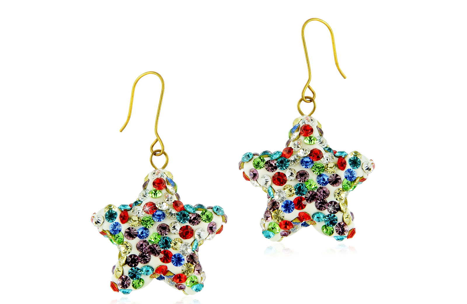 Vera Perla 10k Solid Gold 20mm Crystal Star Delicate Earrings