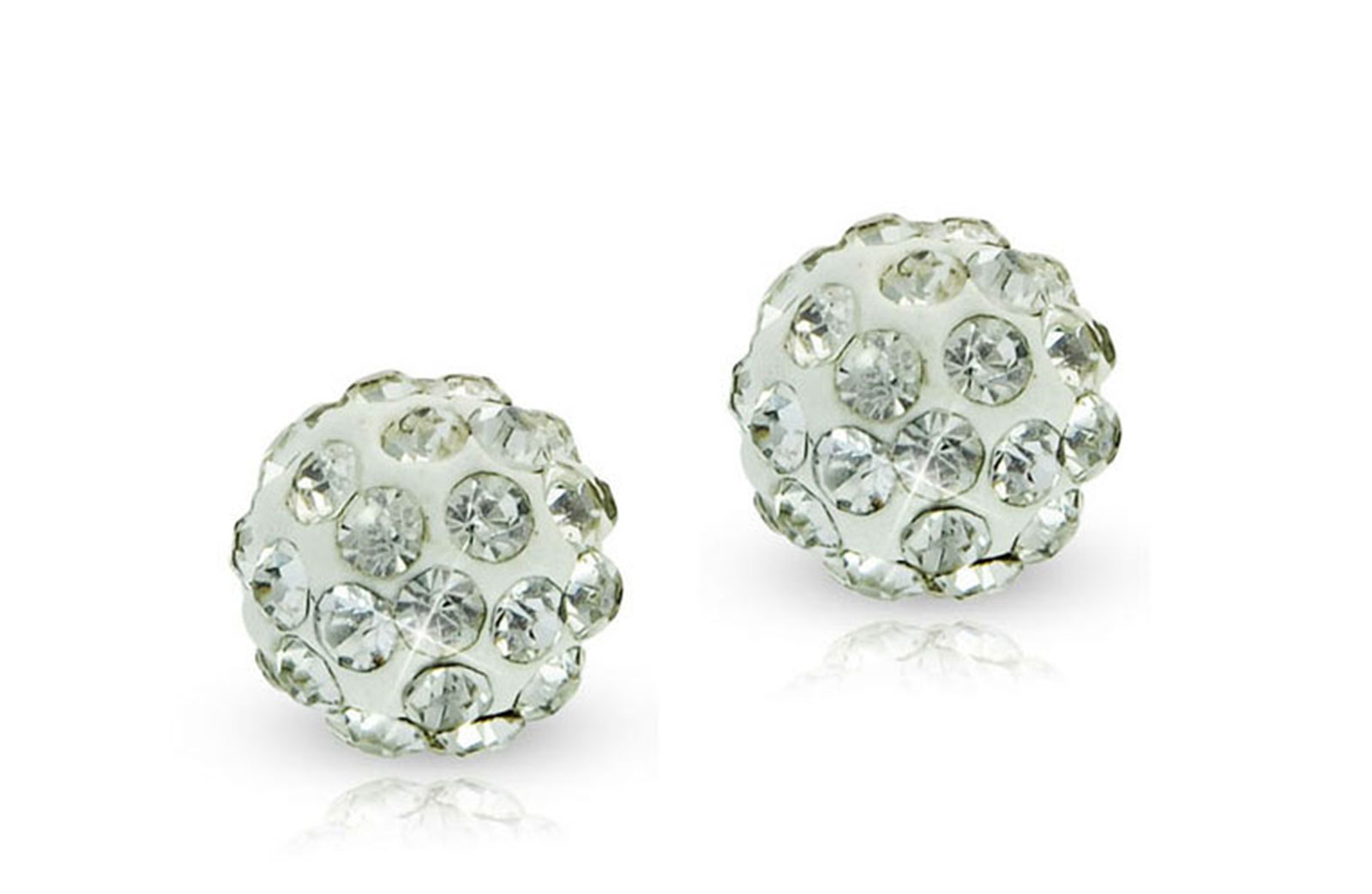 Vera Perla 10k Solid Gold 6mm Simple Crystal Ball Earrings