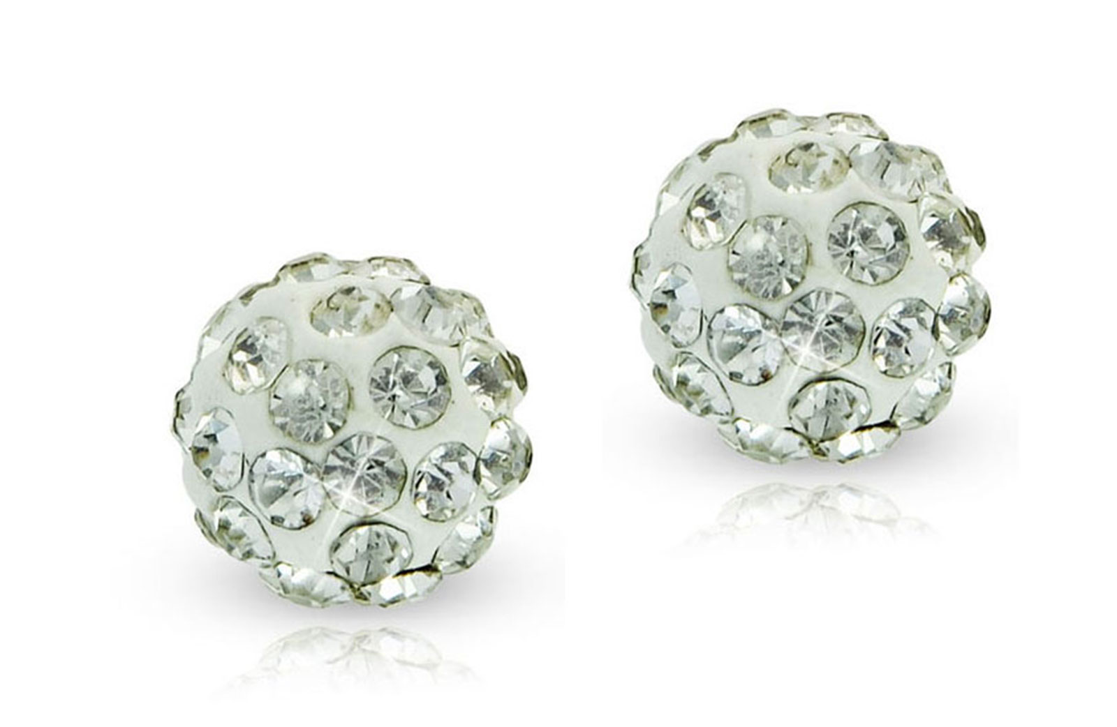 Vera Perla 10k Solid Gold 8mm Simple Crystal Ball Earrings