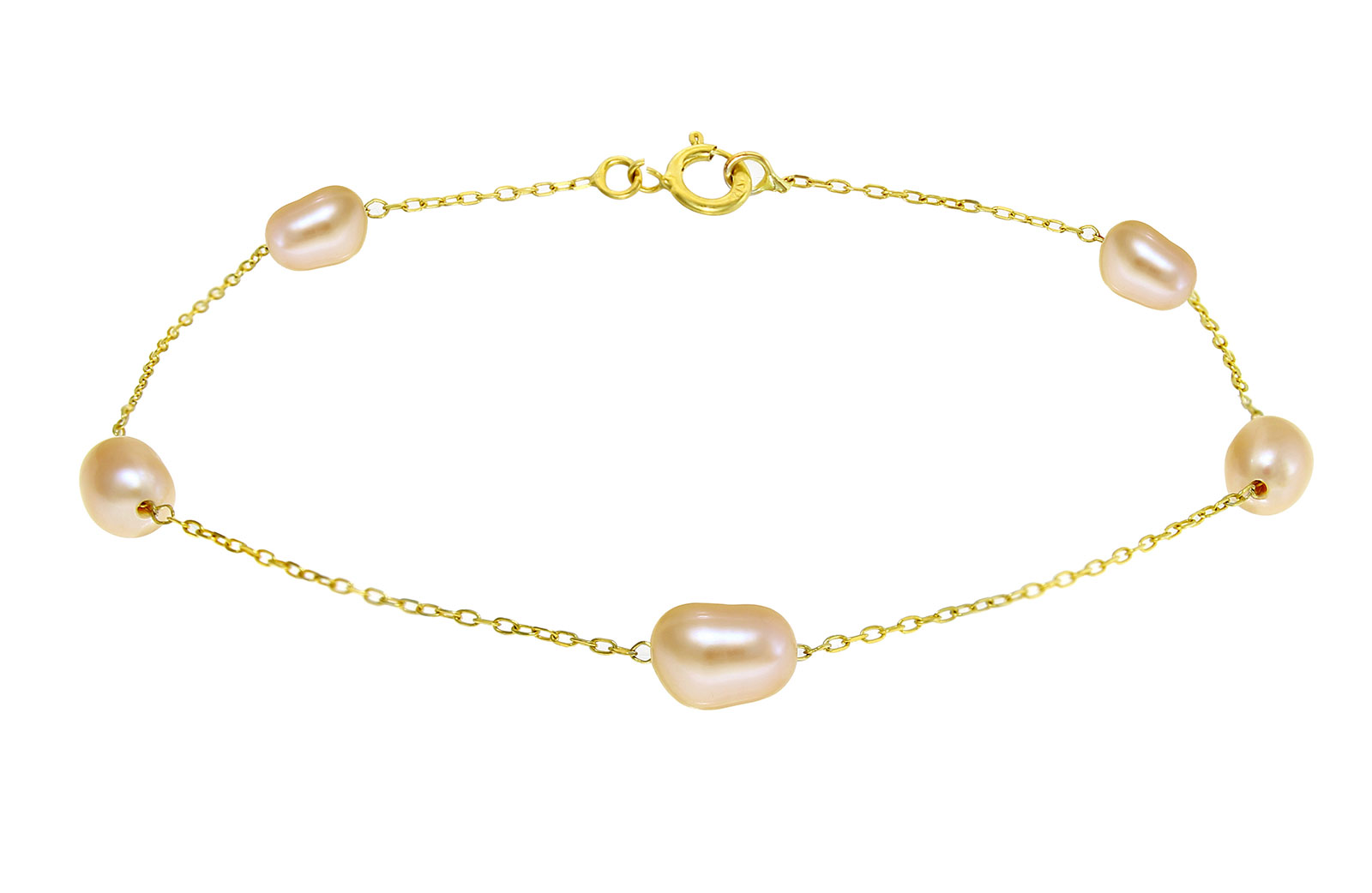 Vera Perla 10k Solid Gold and Pink Color Genuine Pearls Bracelet