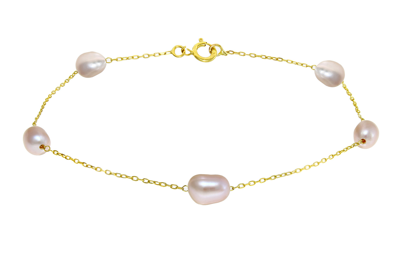 Vera Perla 10k Solid Gold and Purple Color Genuine Pearls Bracelet