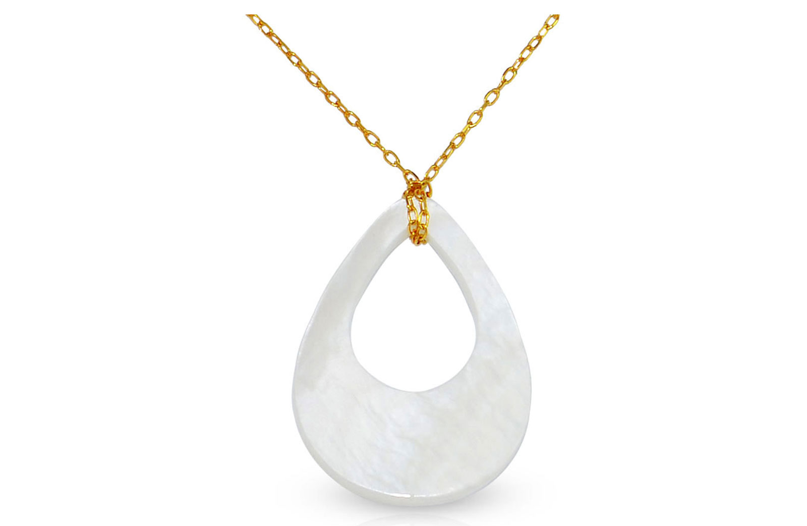 Vera Perla 10K Solid Gold Mother of Pearl Drop Shell Necklace