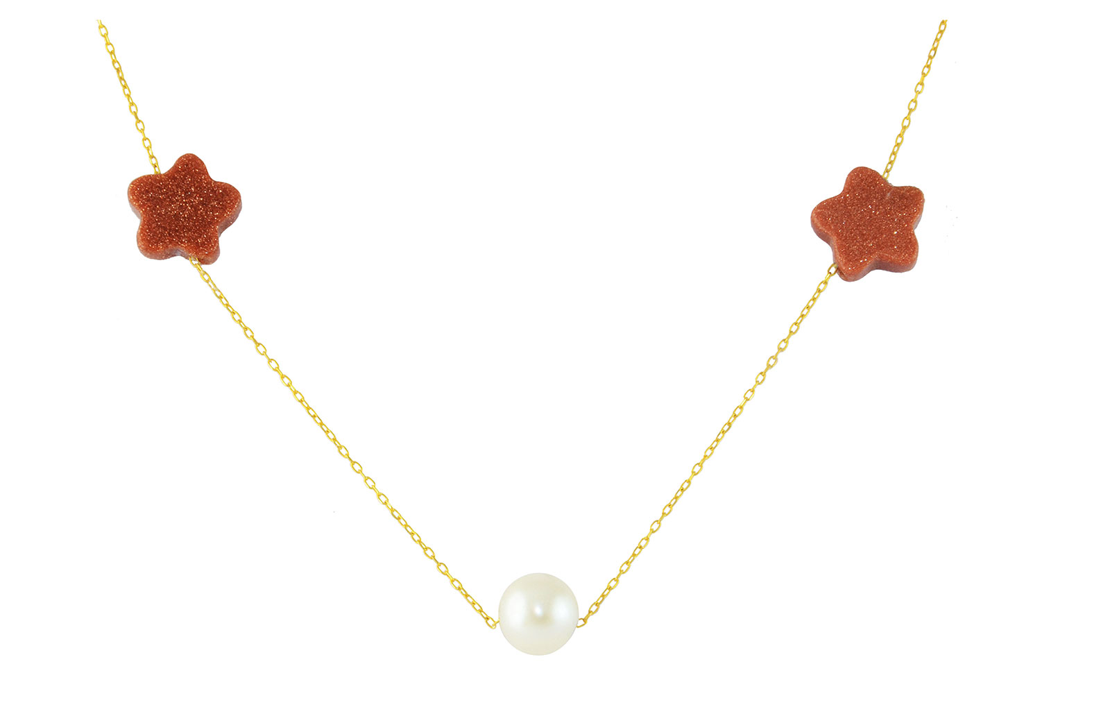 Vera Perla 10K Solid Gold Star Sunstones and Pearl Necklace