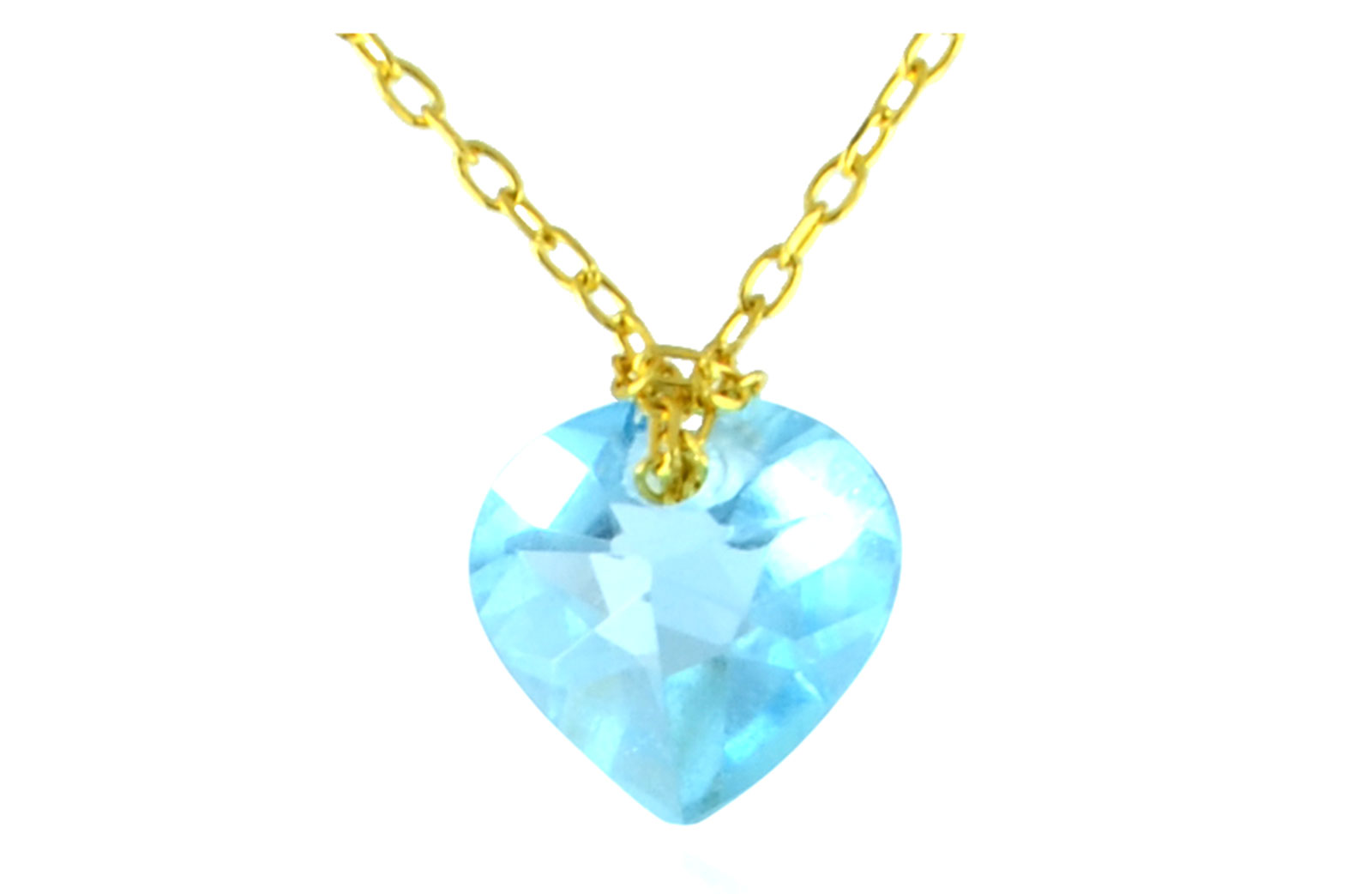 Vera Perla 10k Yellow Gold 7mm Heart Cut Genuine Sky Blue Topaz Necklace