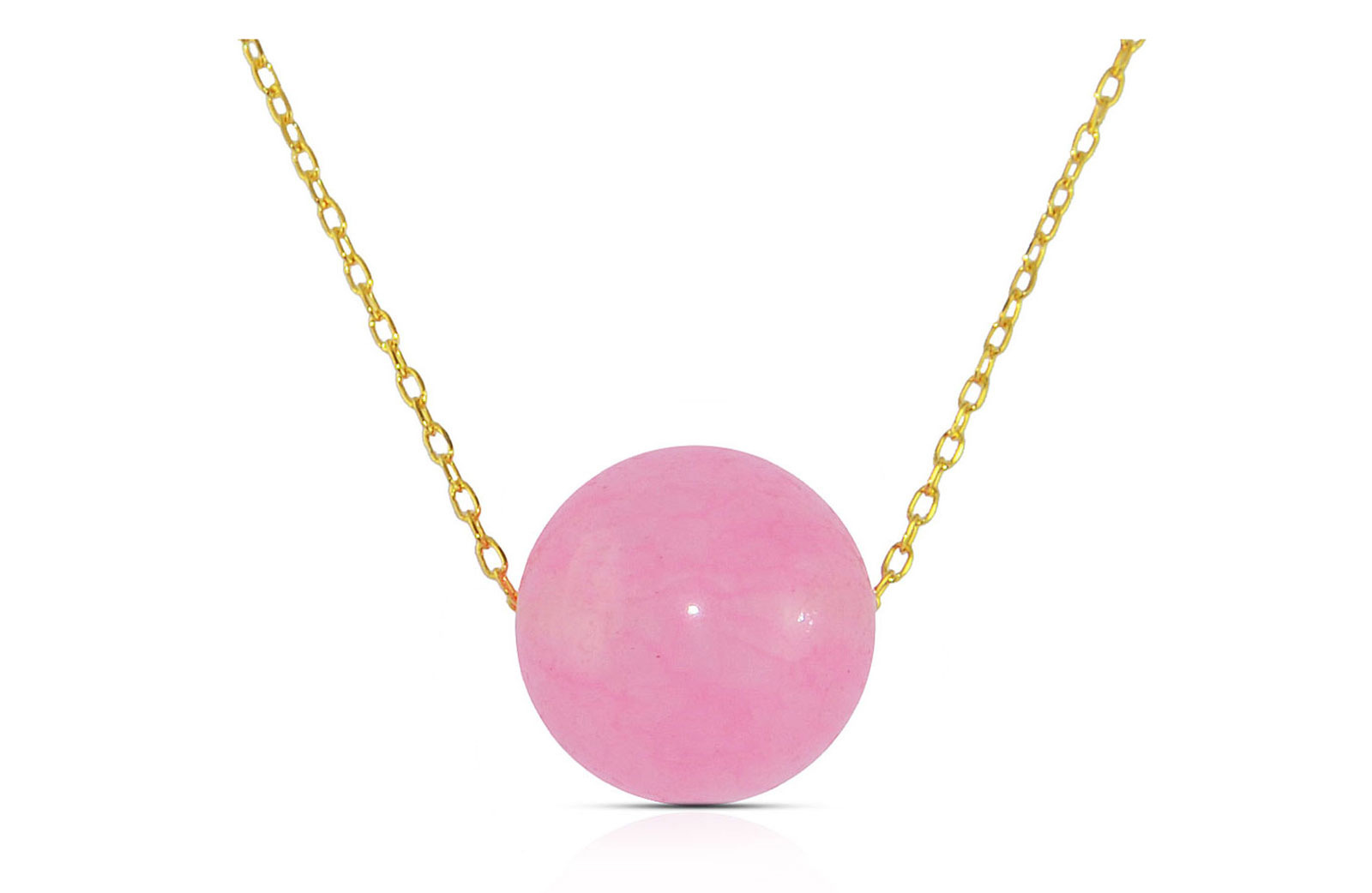 Vera Perla 10K Yellow Simple 10mm Genuine Pink Candy Jade Pendant Necklace