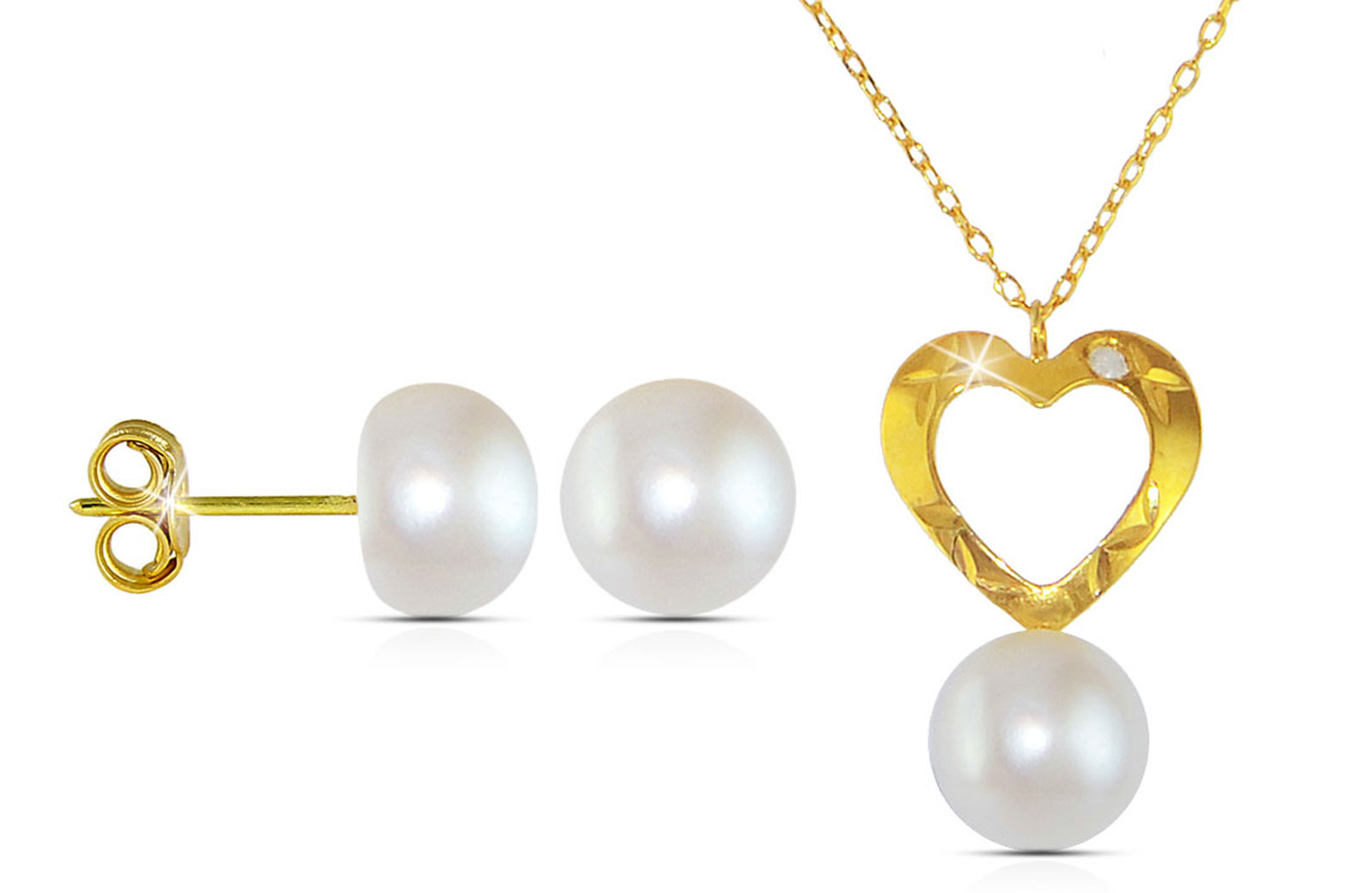 Vera Perla 18K Gold  Diamond and Pearl Heart Pendant with 10K Gold Earrings and Chain