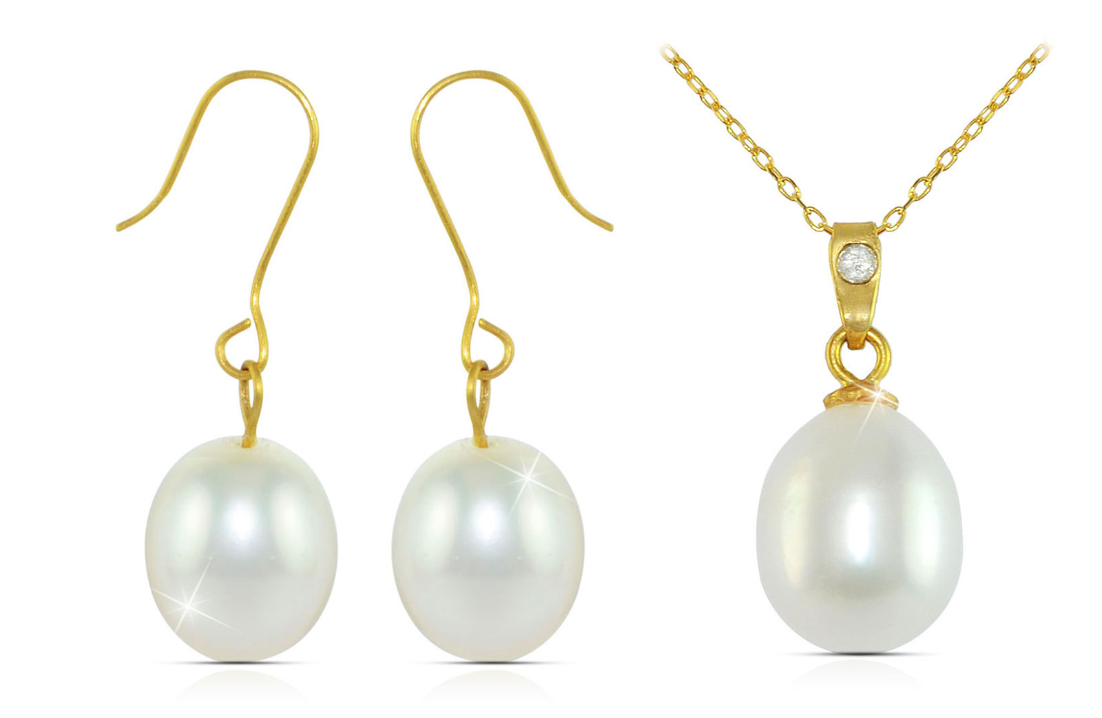 Vera Perla 18K Gold  Diamond and Pearl Pendant with 10K Gold Earrings and Chain