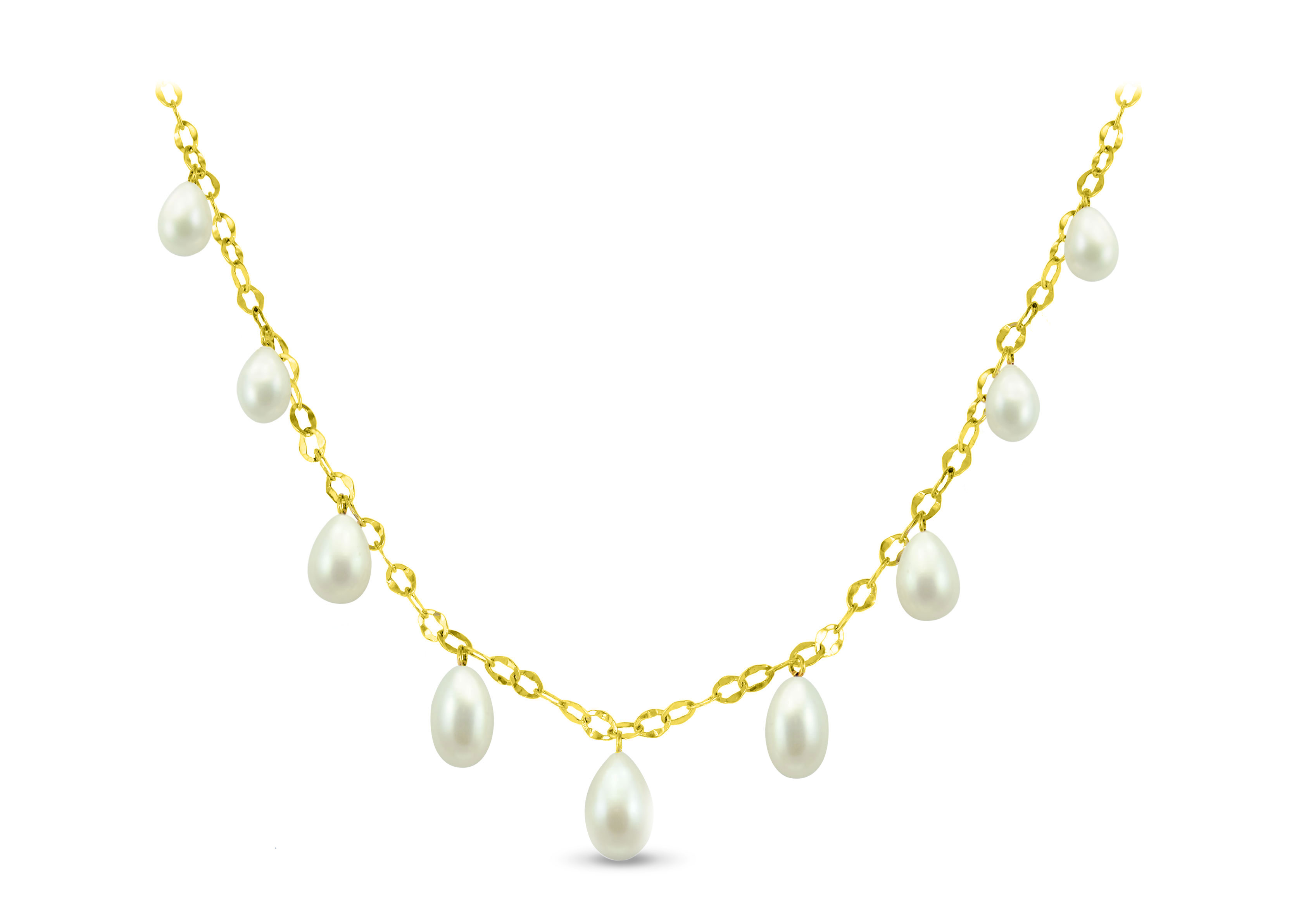 Vera Perla 18K Gold  Pearl Drops Necklace