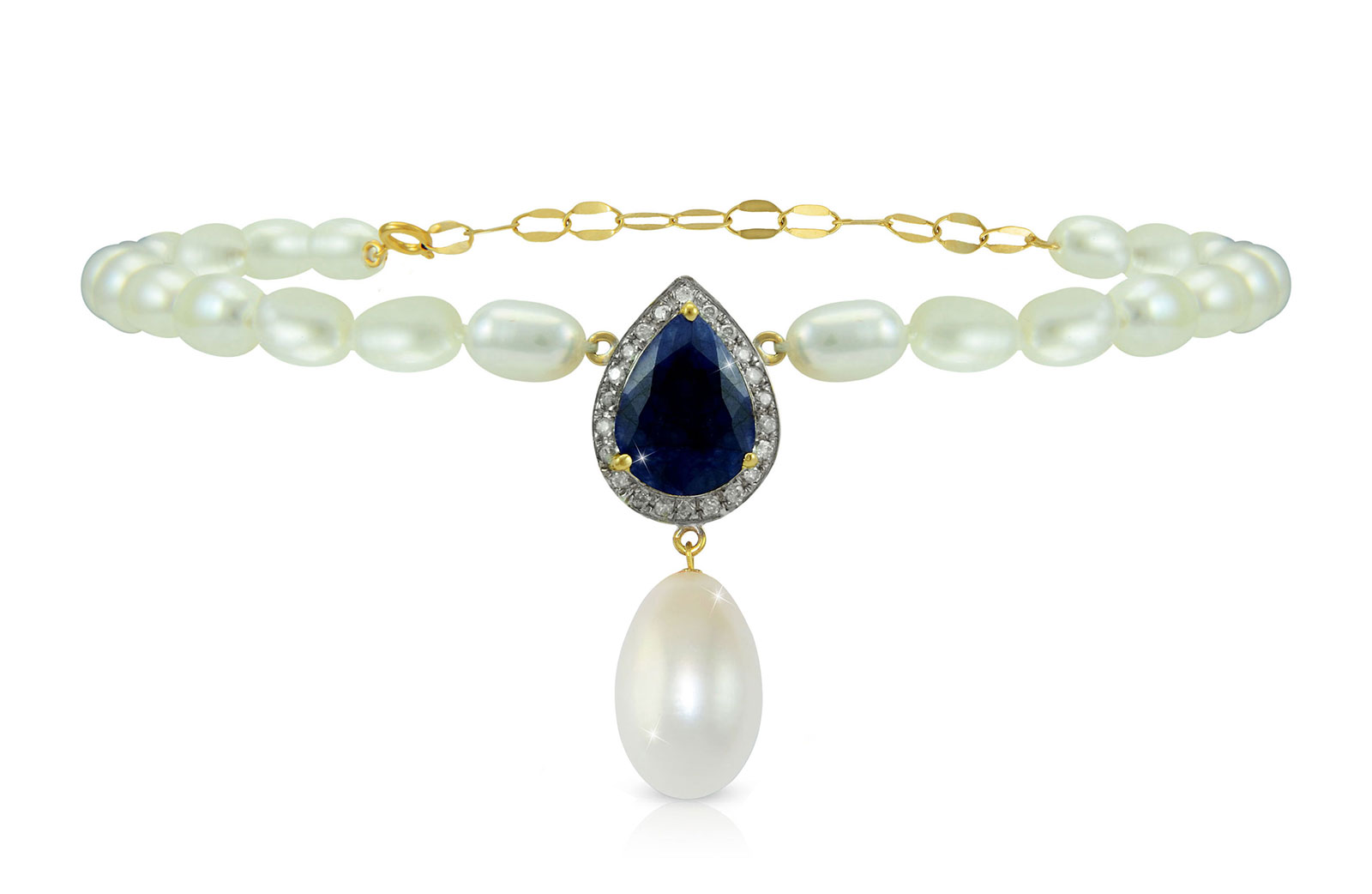 Vera Perla 18K Gold 0.12ct Diamonds, Royal Indian Sapphire and 13mm Pearl Bracelet