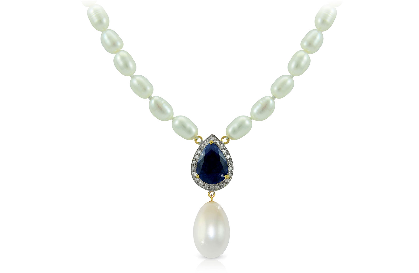 Vera Perla 18K Gold 0.12ct Diamonds, Royal Indian Sapphire and 13mm Pearl Necklace