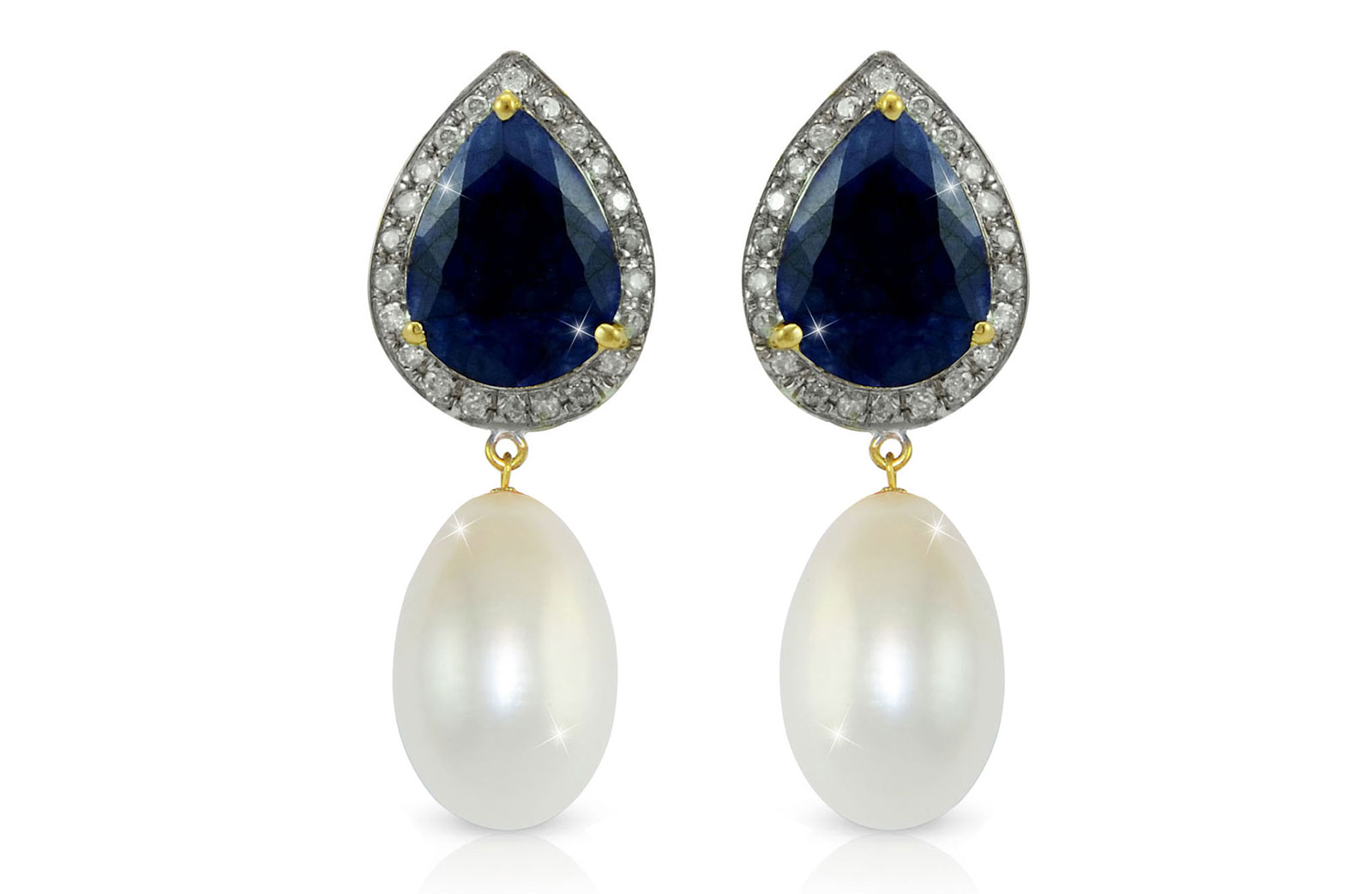 Vera Perla 18K Gold 0.24ct Diamonds, Royal Indian Sapphire and 13mm Pearl Earrings